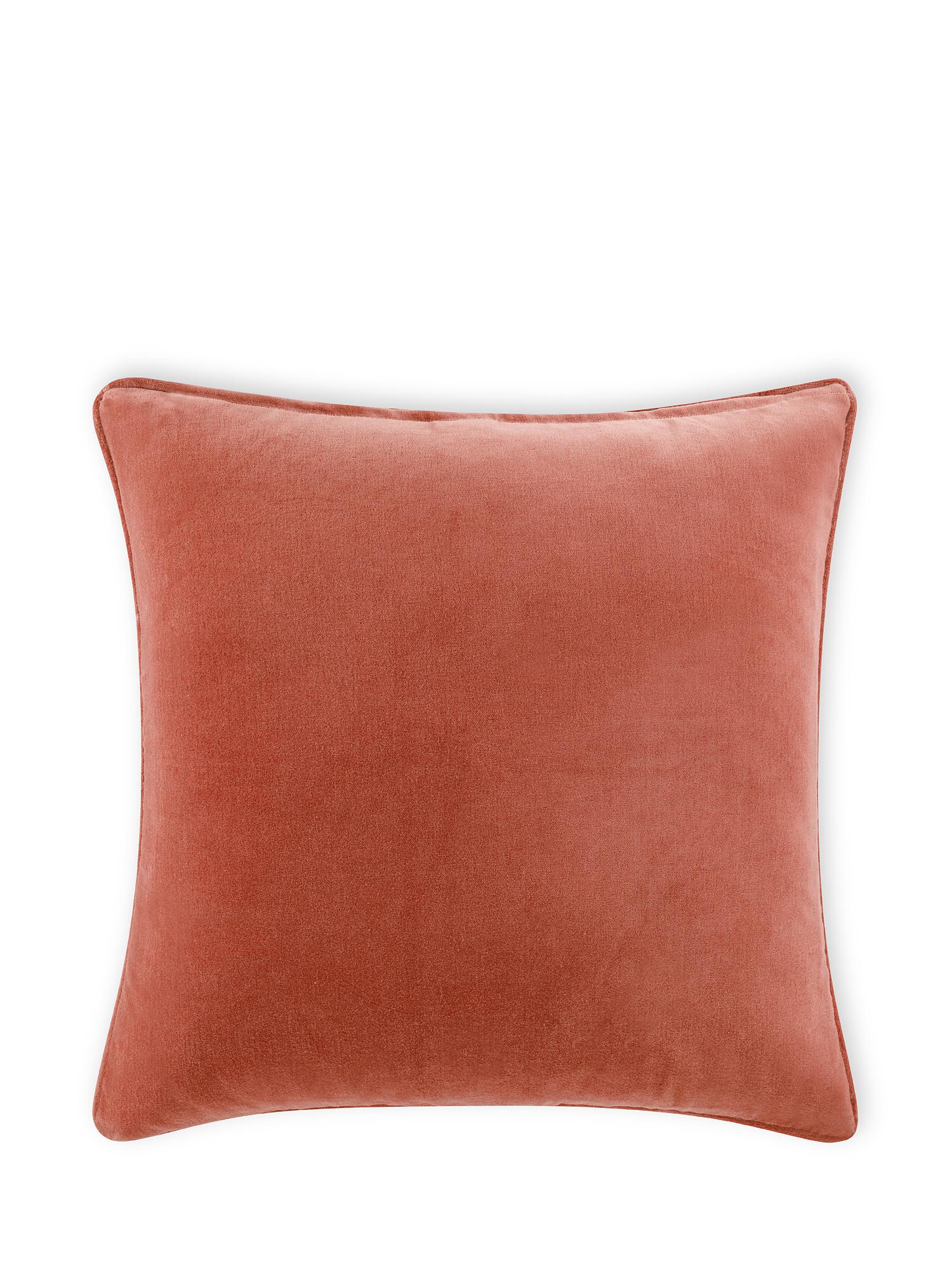 Cuscino velluto di cotone tinta unita 45x45cm, Rosa, large image number 0