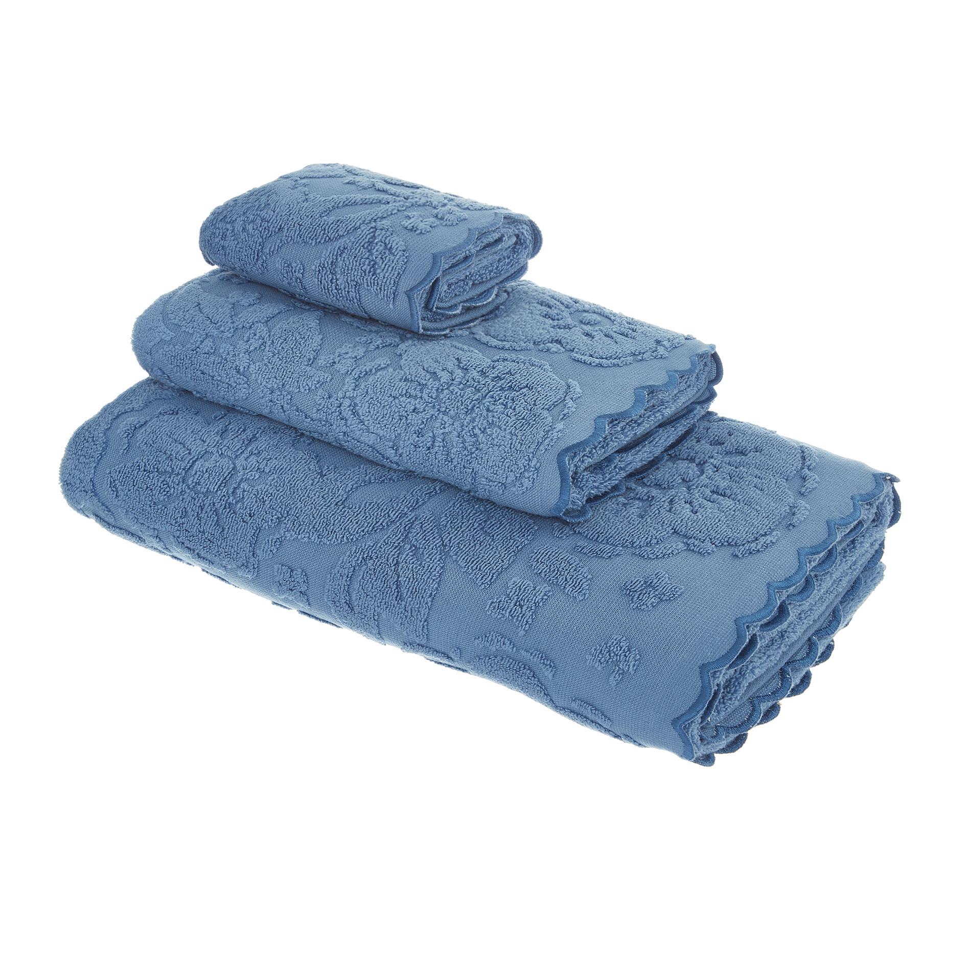 Asciugamano spugna di cotone bordo jacquard, Blu, large image number 0