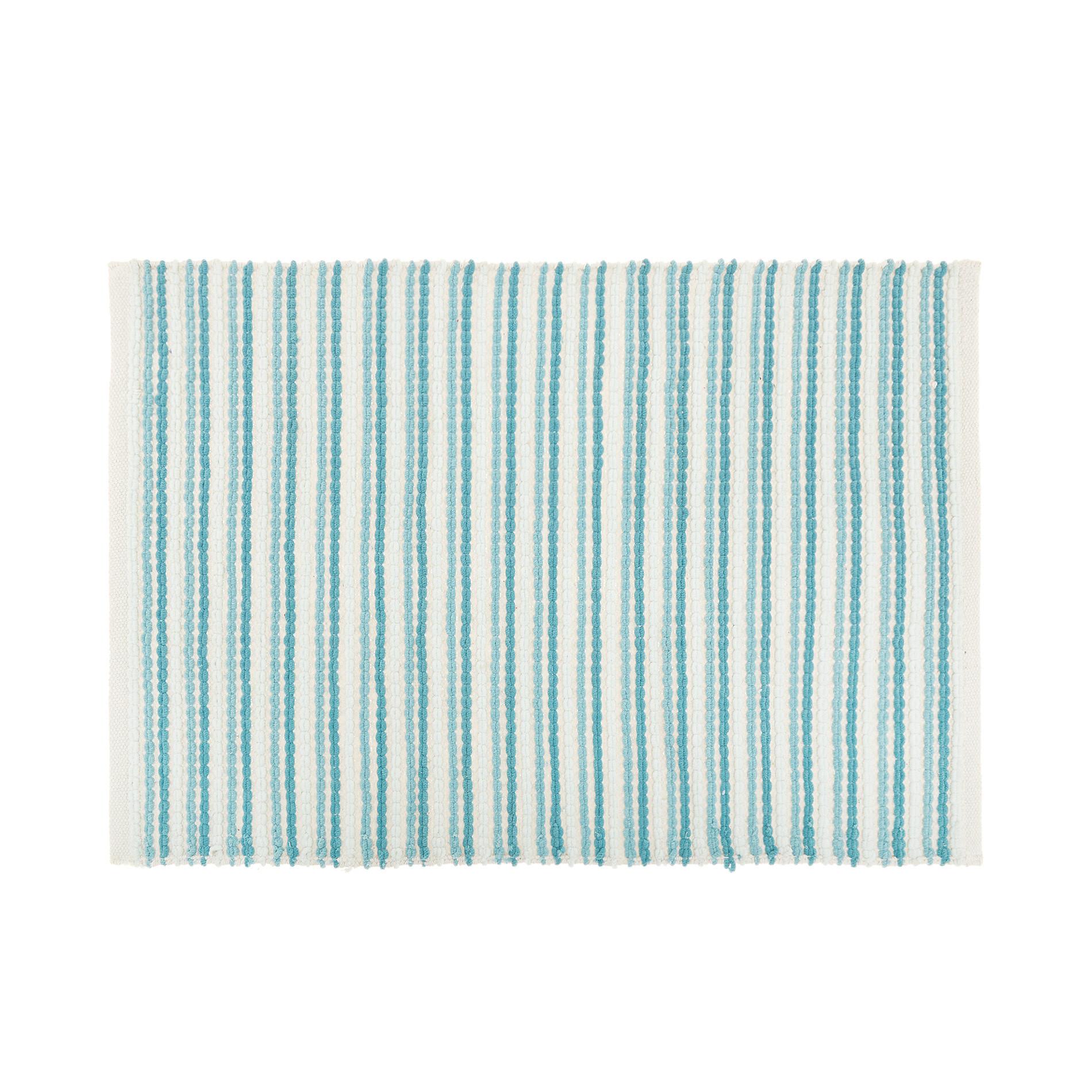 Tappeto bagno micro cotone a righe, Verde ottanio, large image number 0