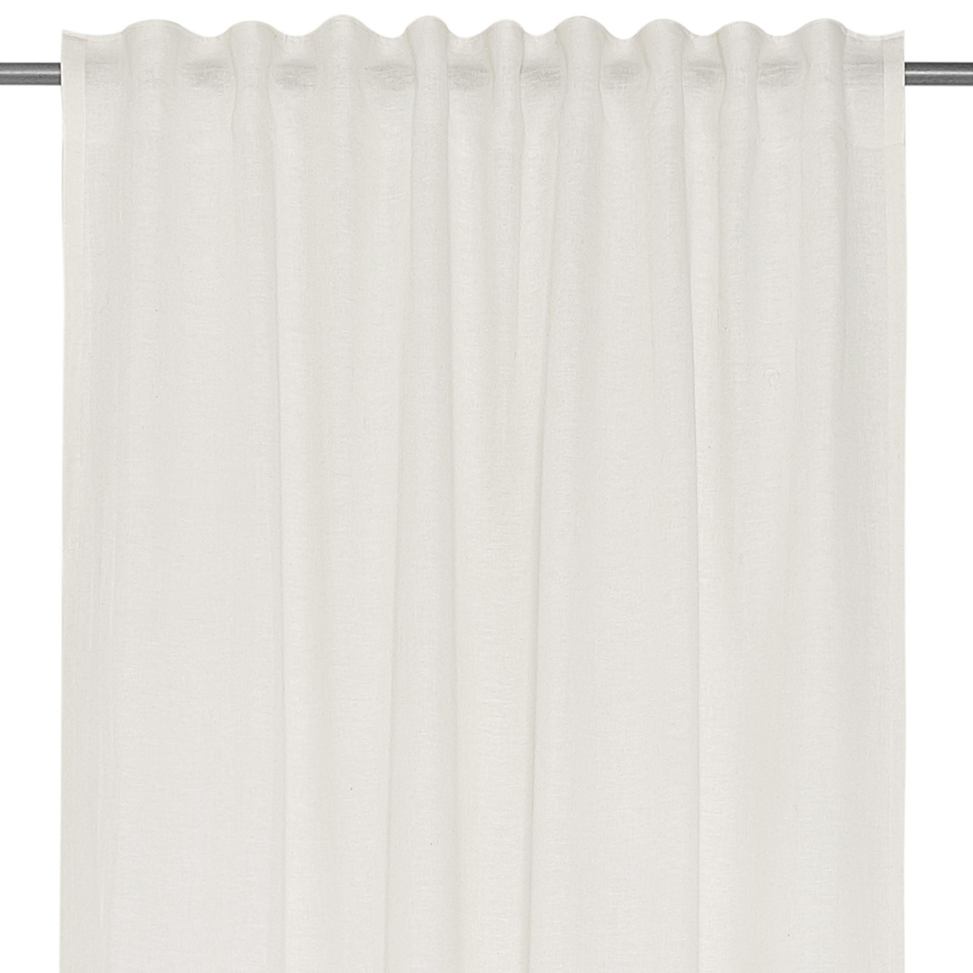 Tenda misto lino con passanti nascosti, Bianco, large image number 3