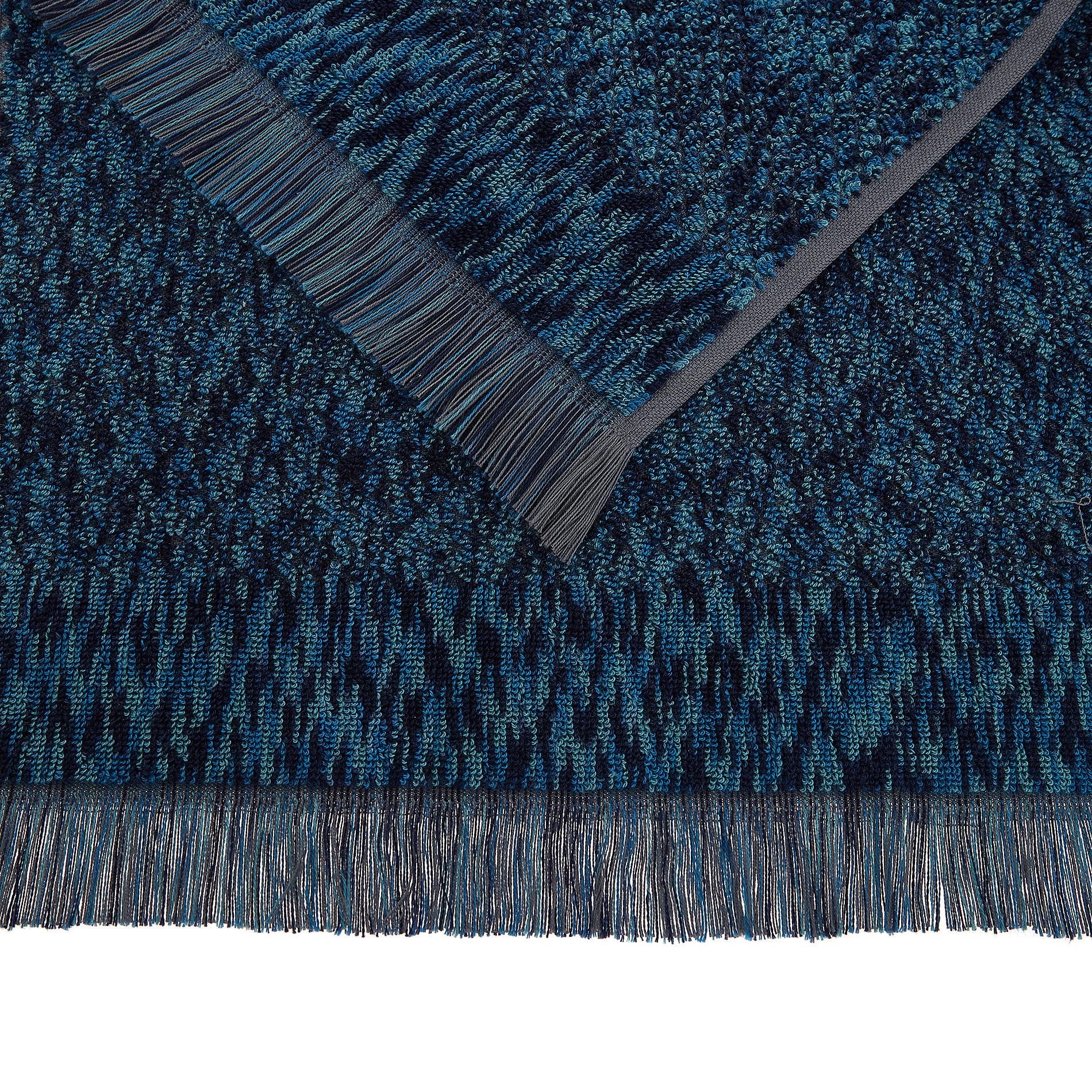 Asciugamano spugna di cotone effetto melange, Blu, large image number 2