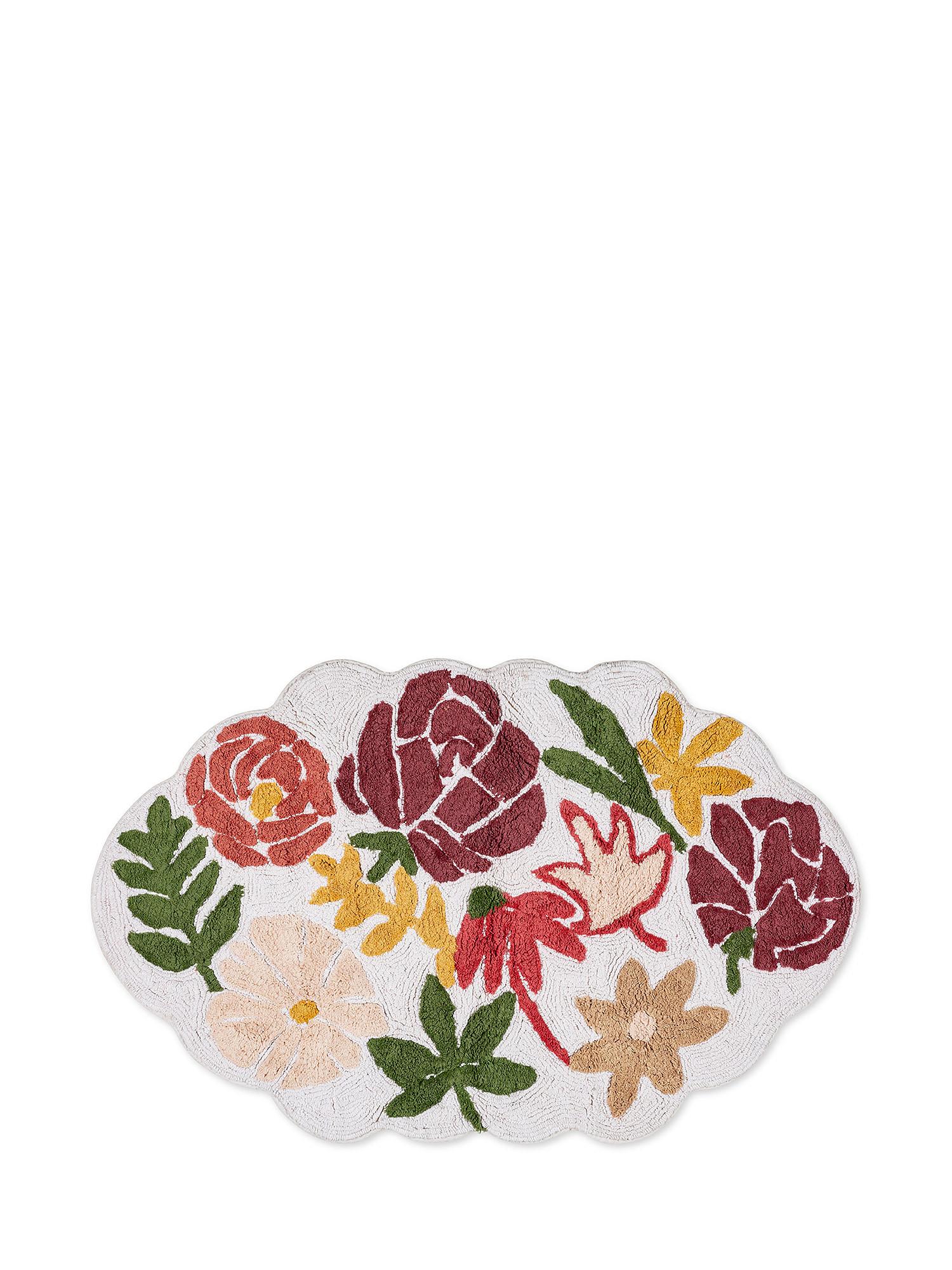 Tappeto bagno cotone sagomato motivo fiori, Rosa scuro, large image number 0