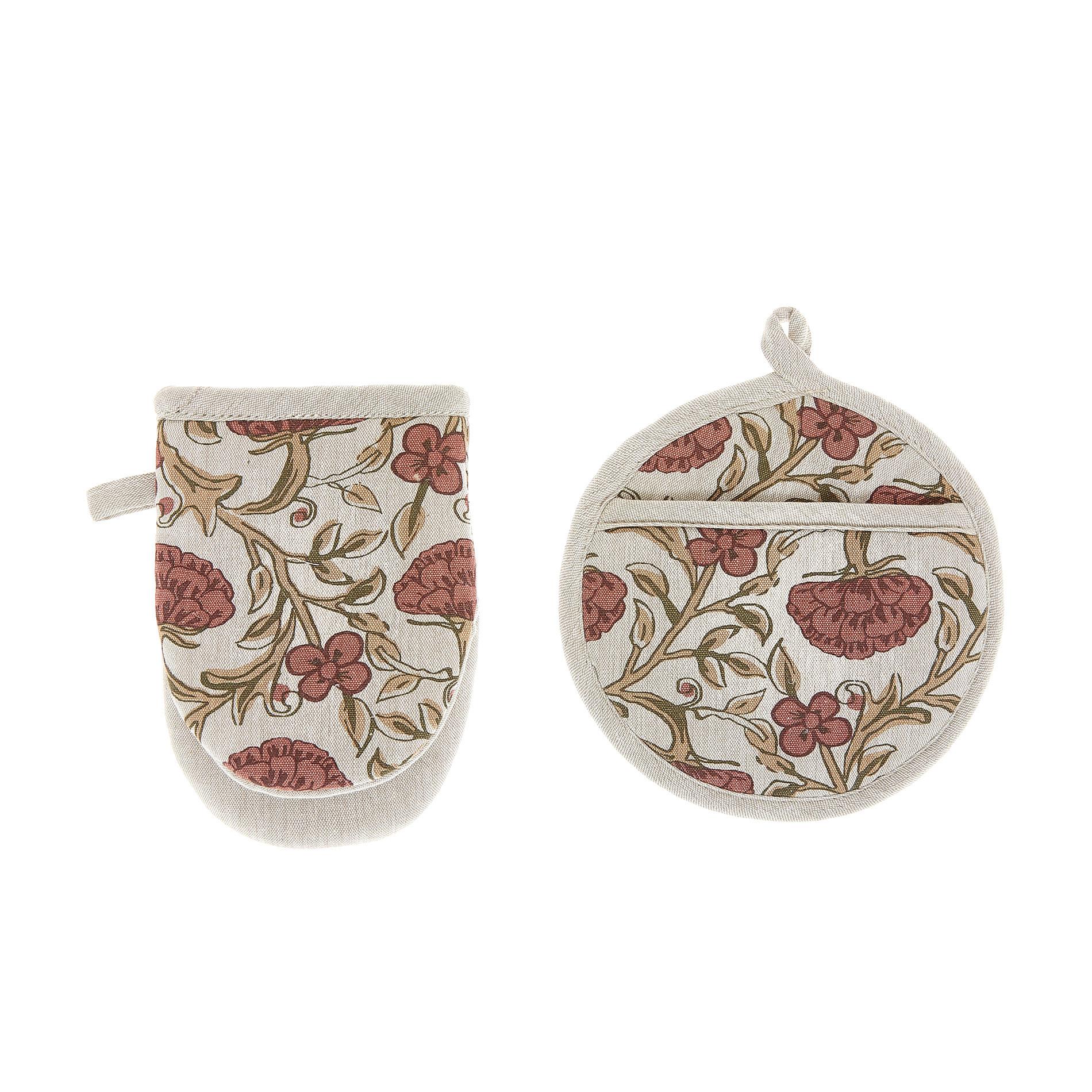 Set presina e guanto da cucina puro cotone stampa ornamentale, Marrone chiaro, large image number 0