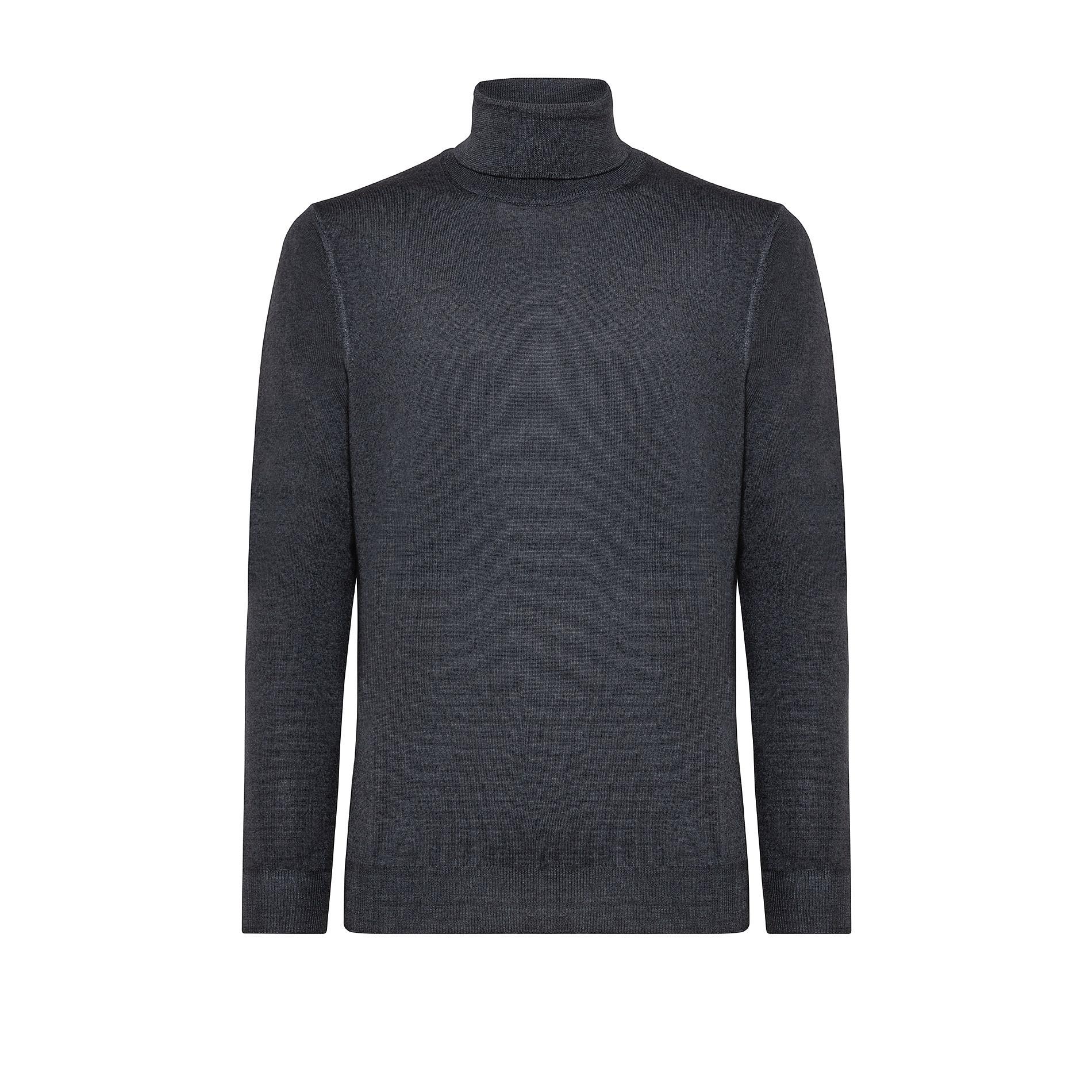 Pullover lana merinos collo alto, Grigio, large image number 0