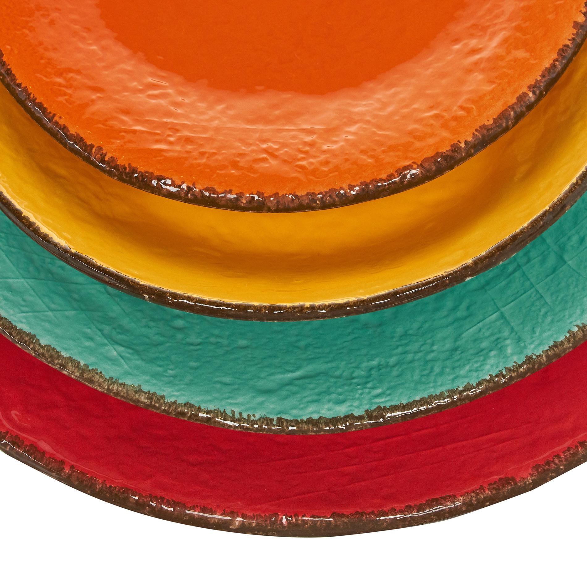 Piatto piano ceramica artigianale Preta, Verde acqua, large image number 3