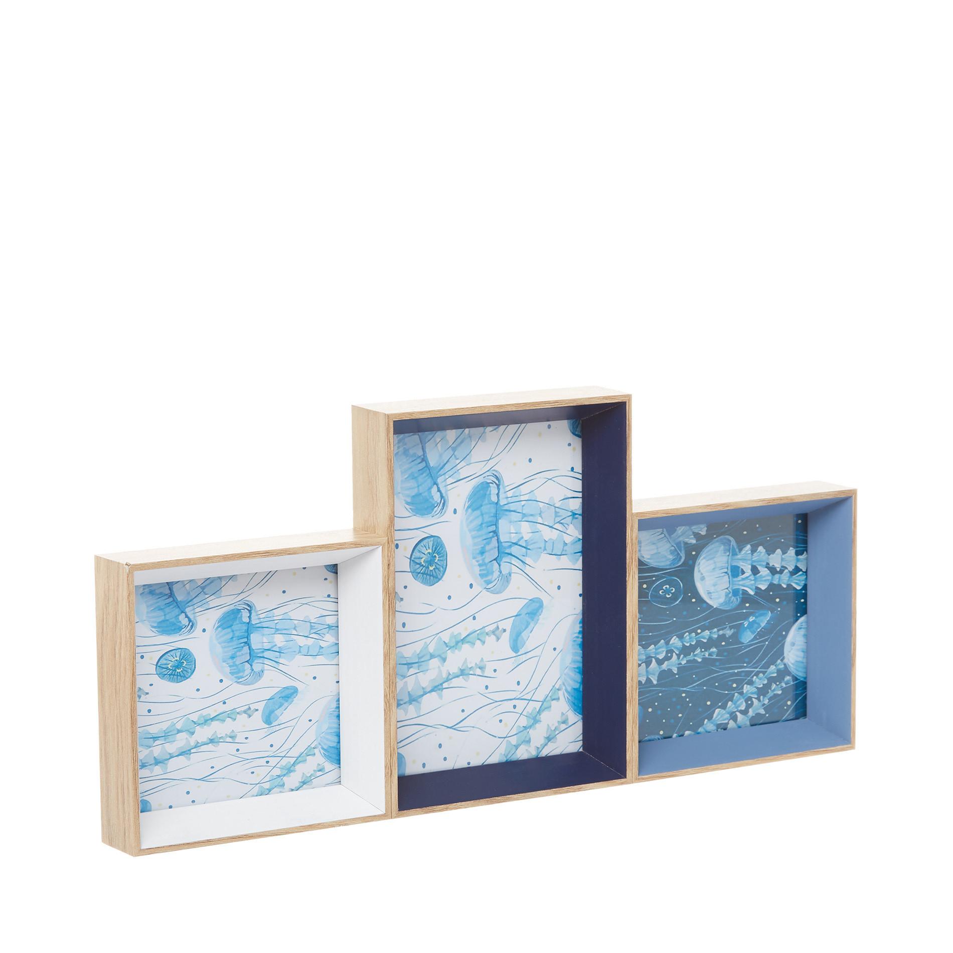 Set 3 portafoto cornice in legno, Azzurro, large image number 0