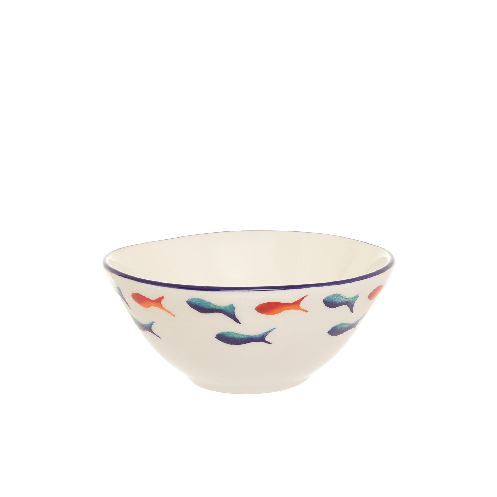 Coppetta ceramica decoro pesci, Bianco/Multicolor, large image number 0