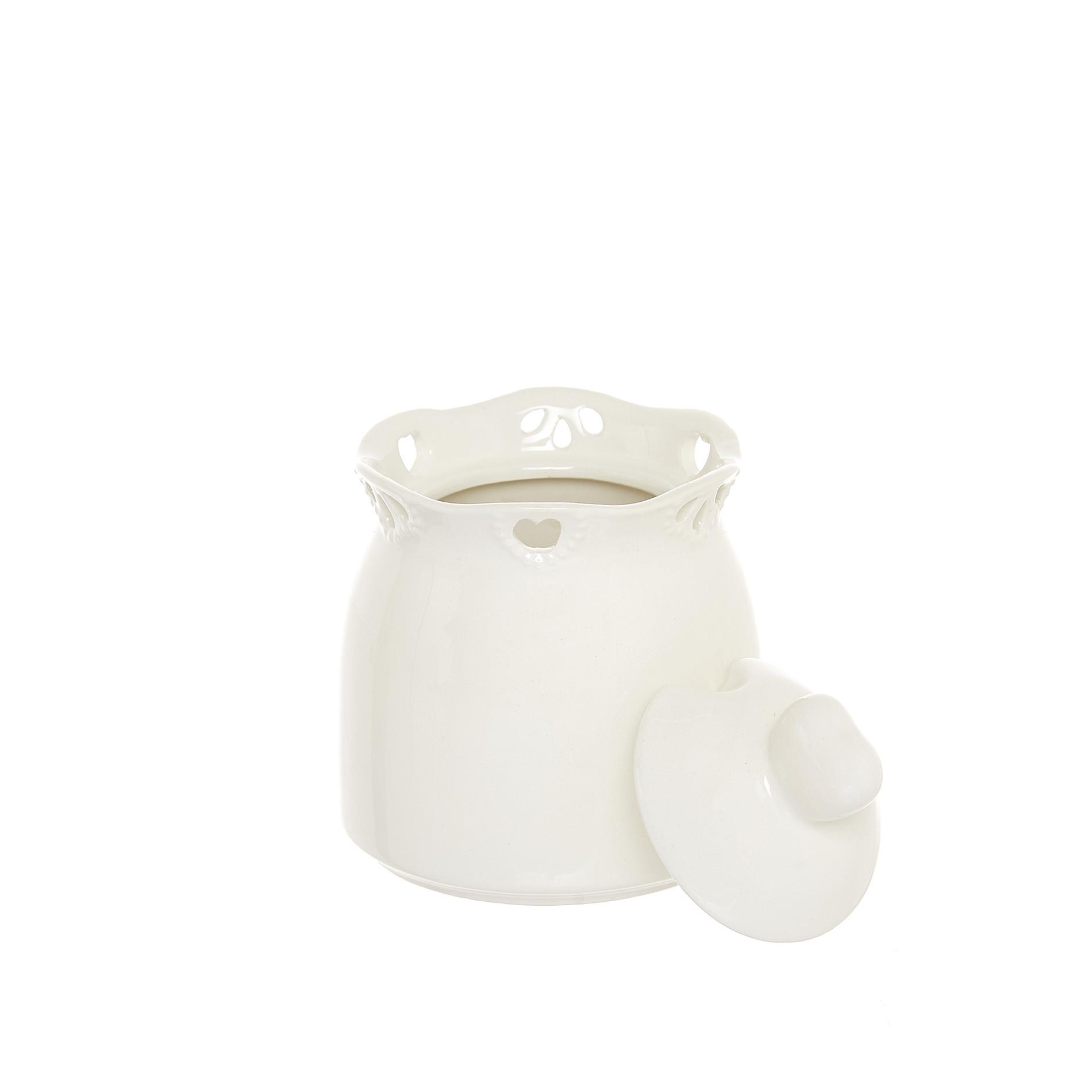 Zuccheriera ceramica traforata, Bianco, large image number 1