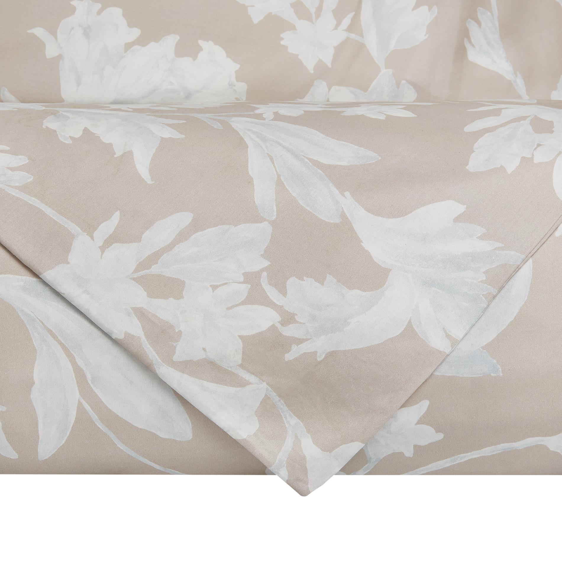 Copripiumino raso di cotone motivo floreale Portofino, Beige, large image number 2