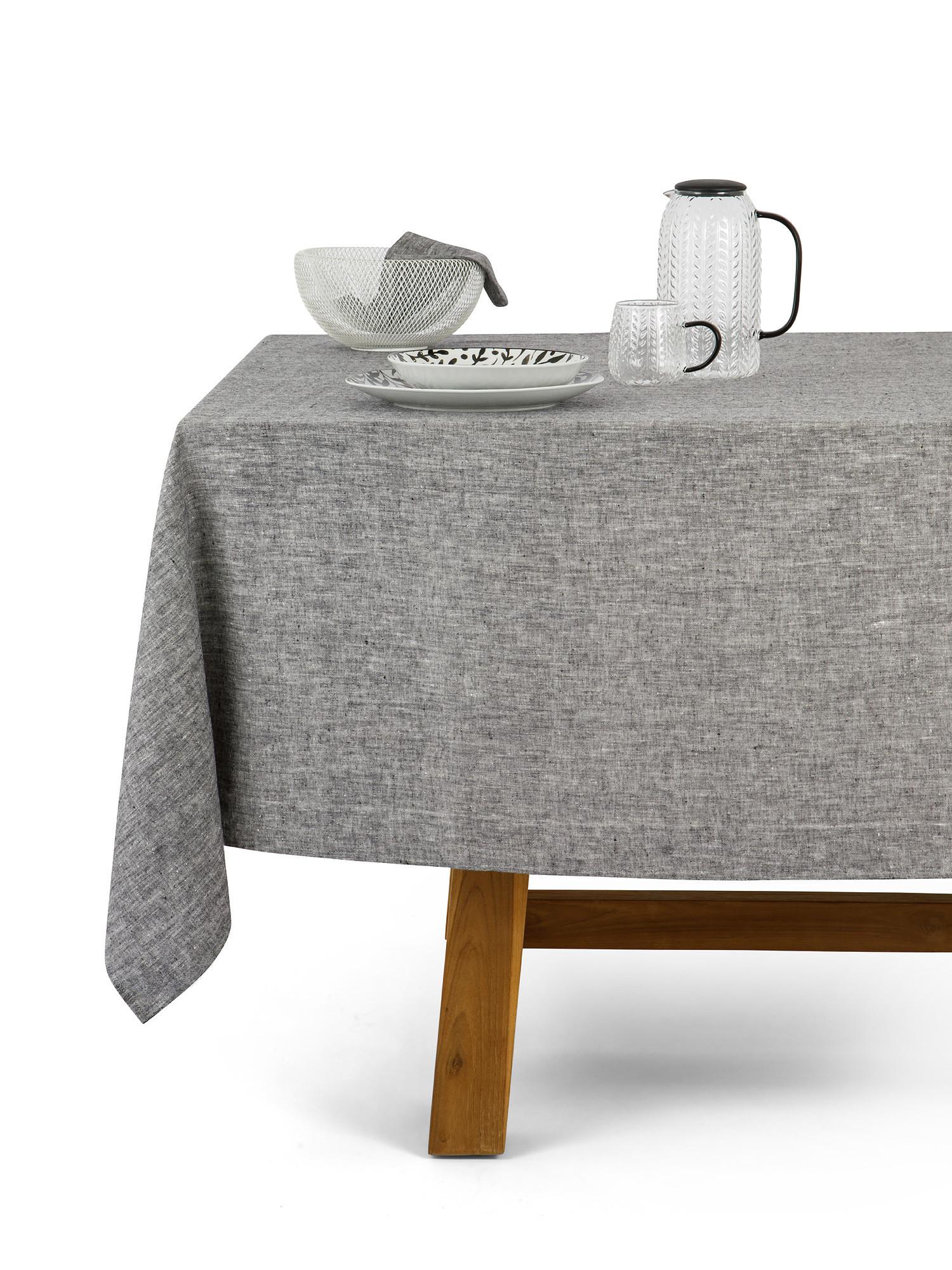 Tovaglia puro lino lavato tinta unita, Grigio, large image number 0
