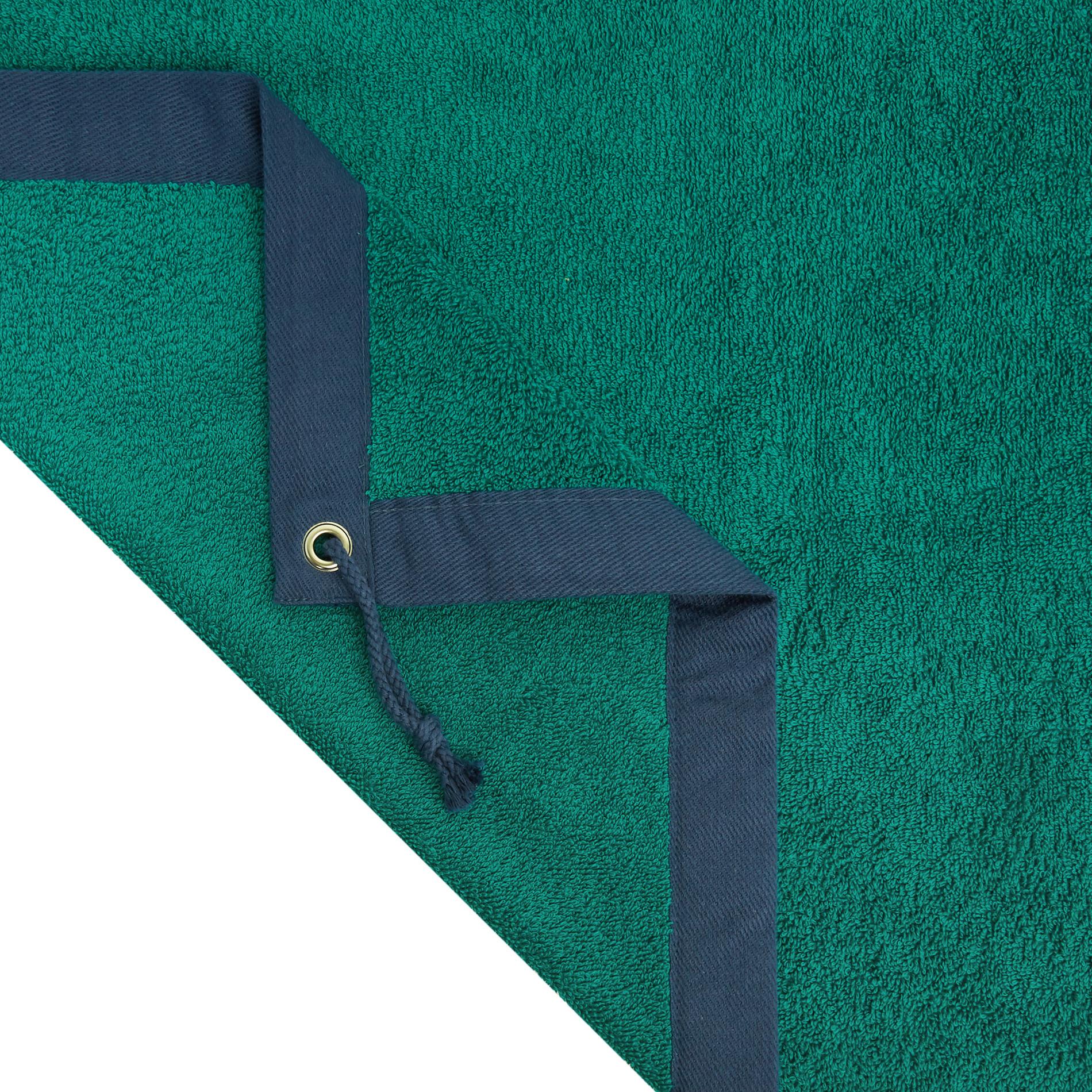Telo mare spugna di cotone ricamo ancora, Verde scuro, large image number 1