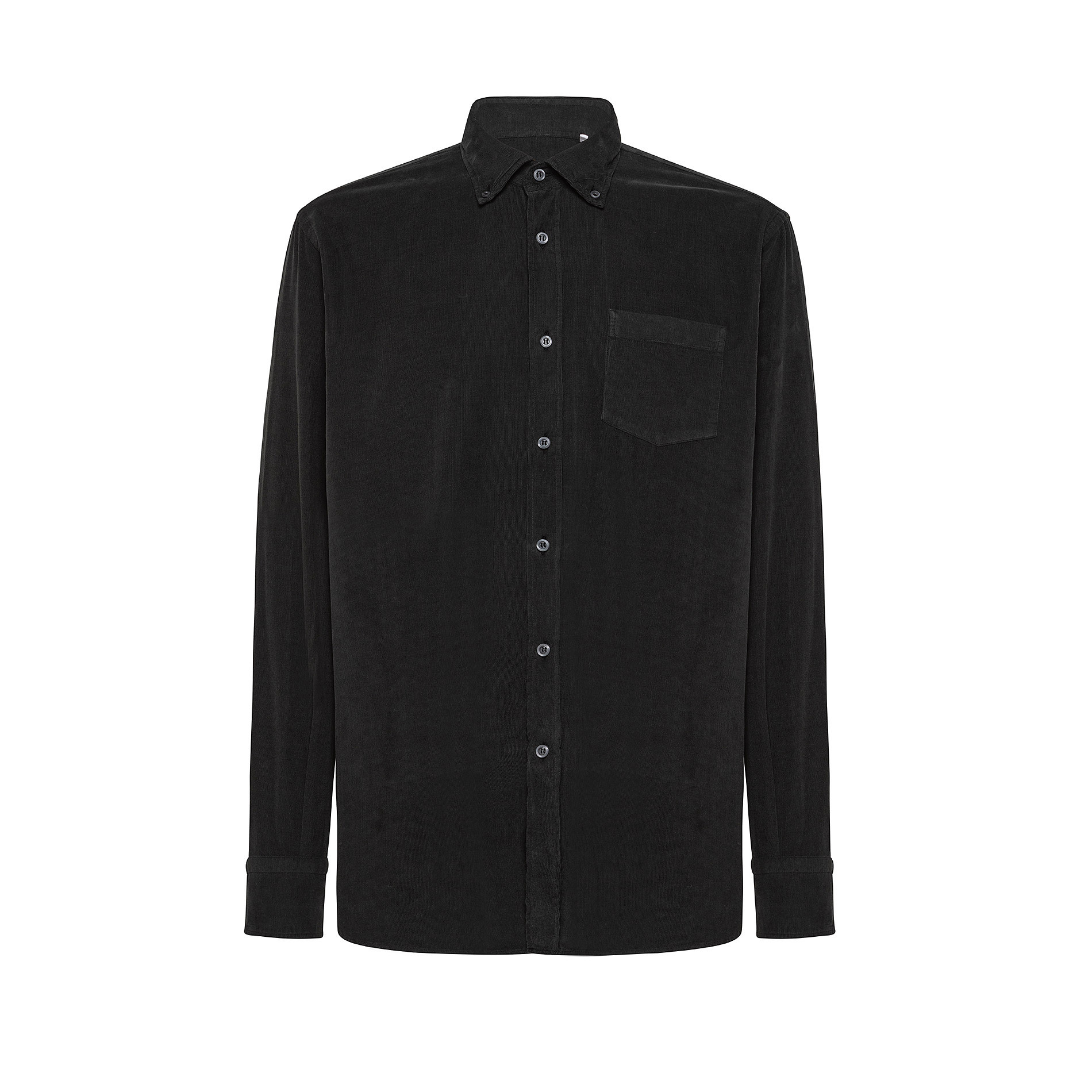 Camicia button-down regular fit in velluto, Verde scuro, large image number 0