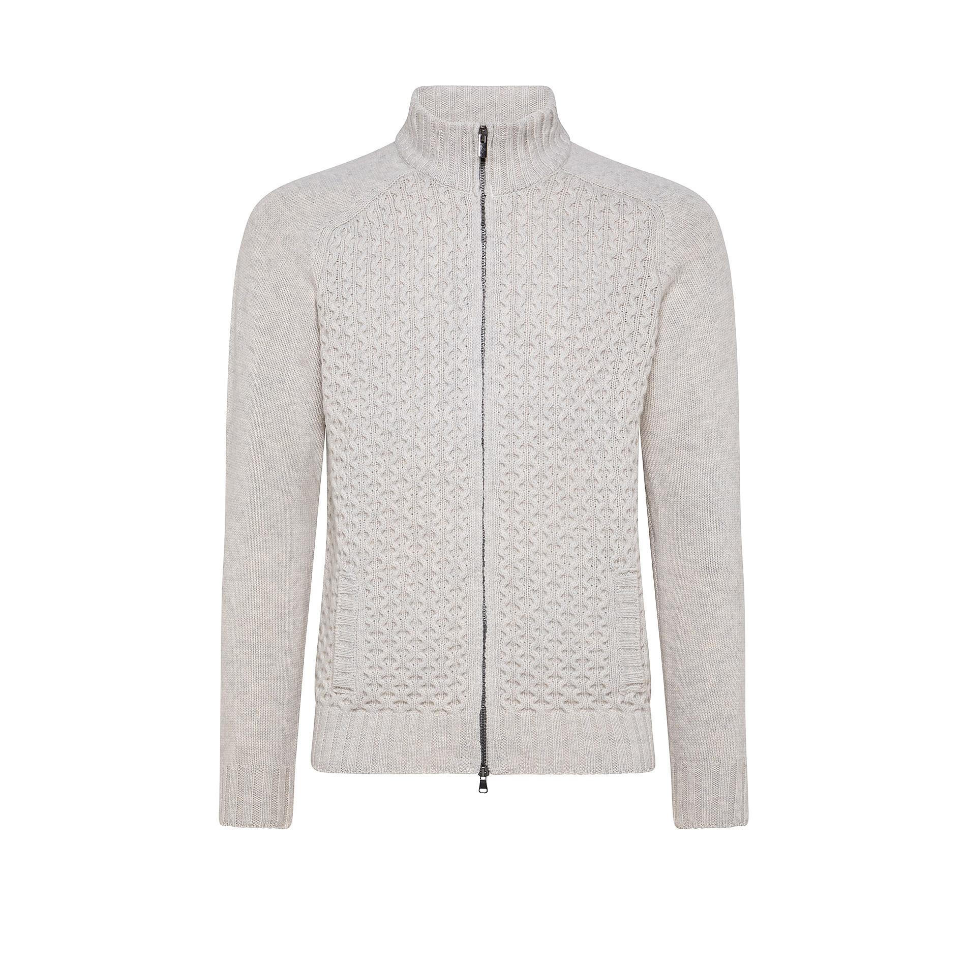 Cardigan collo alto in misto lana motivo trecce, Grigio chiaro, large image number 0