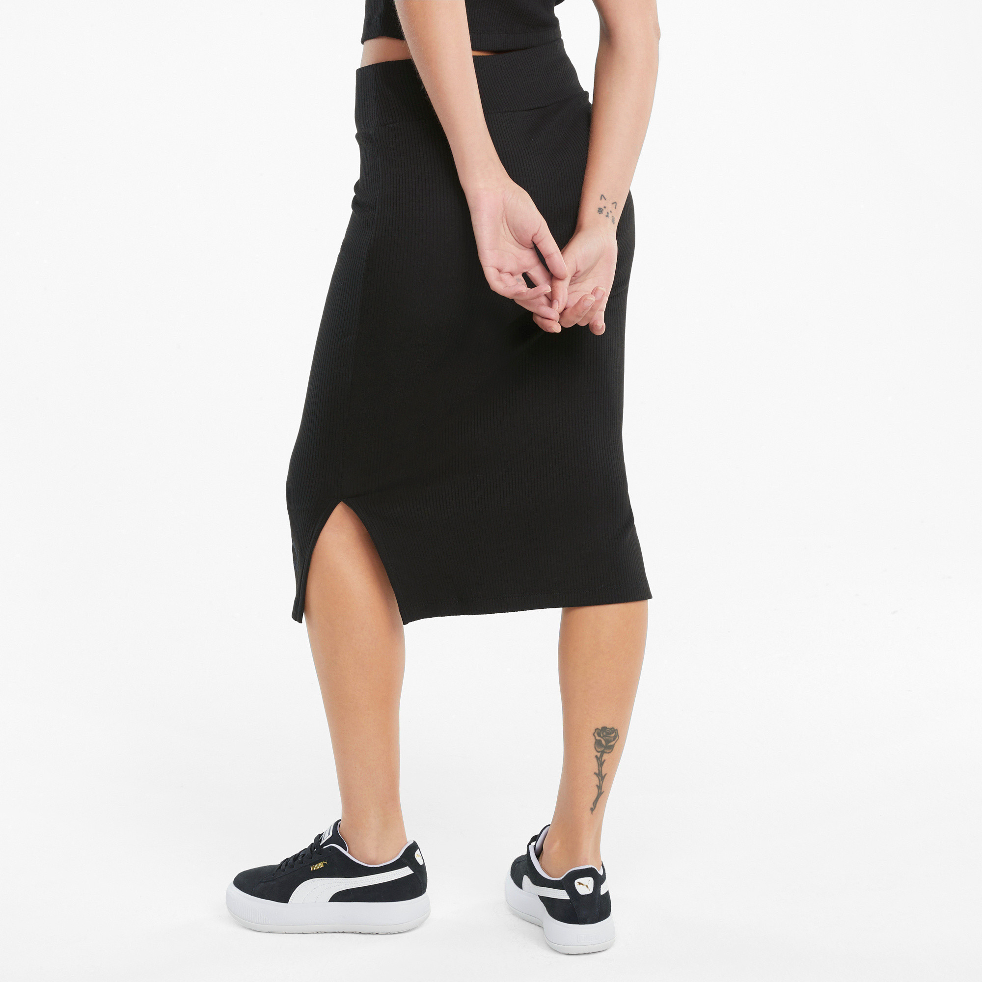 Gonna sportiva midi a coste Classics Collection, Nero, large image number 3