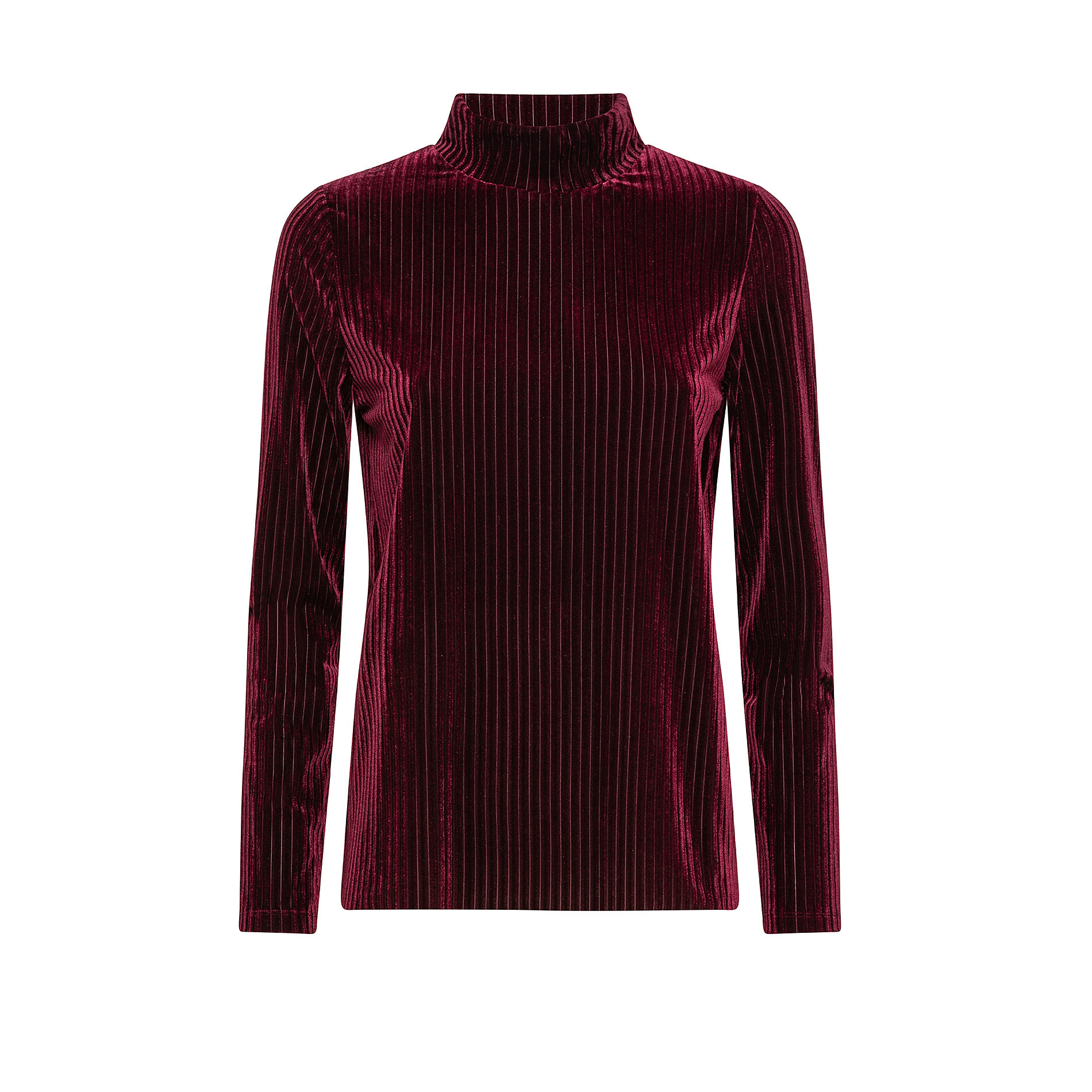 T-shirt collo alto in ciniglia, Rosso scuro, large image number 0