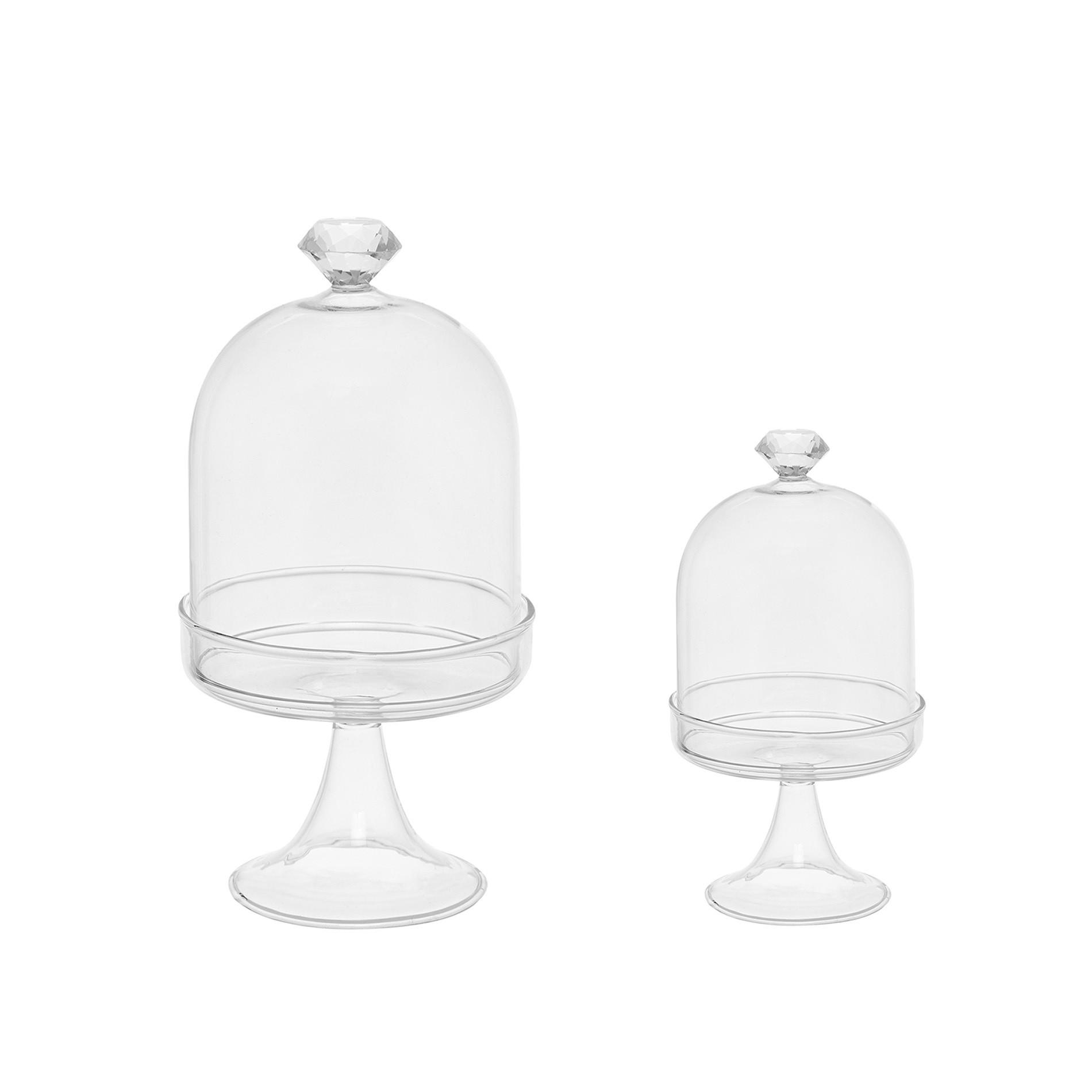 Alzata vetro con diamante, Bianco, large image number 3