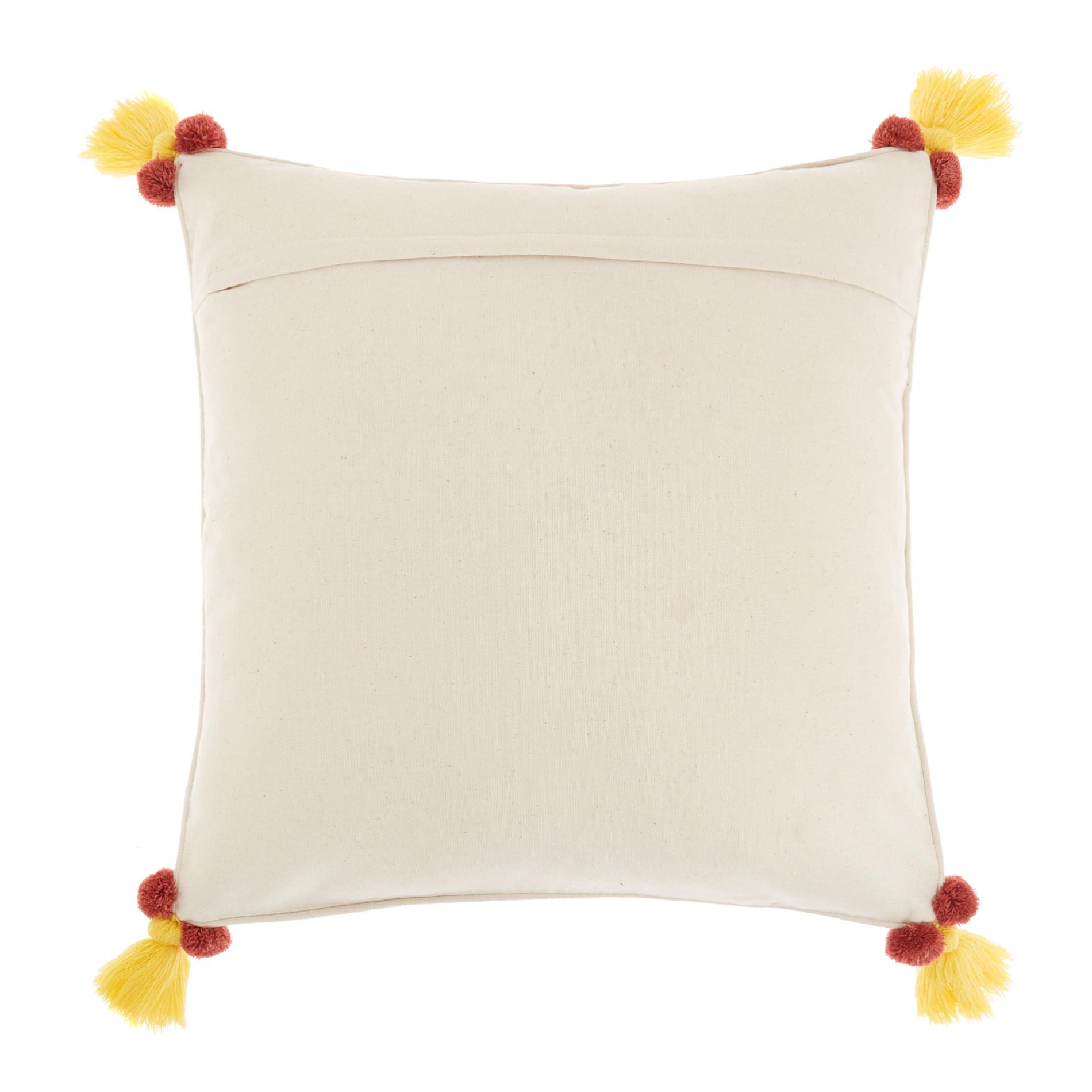 Cuscino cotone ricamo ghirlanda 45x45cm, Bianco, large image number 1