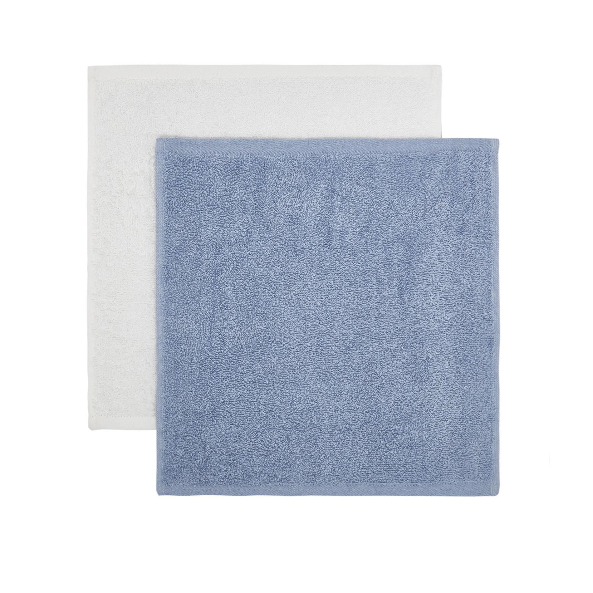 Cestino 4 lavette spugna di cotone, Azzurro, large image number 1