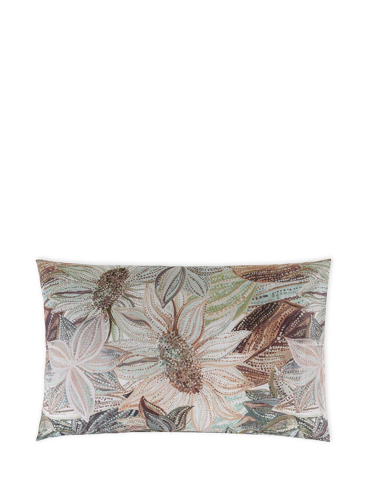 Federa cotone percalle fantasia floreale, Verde, large image number 0