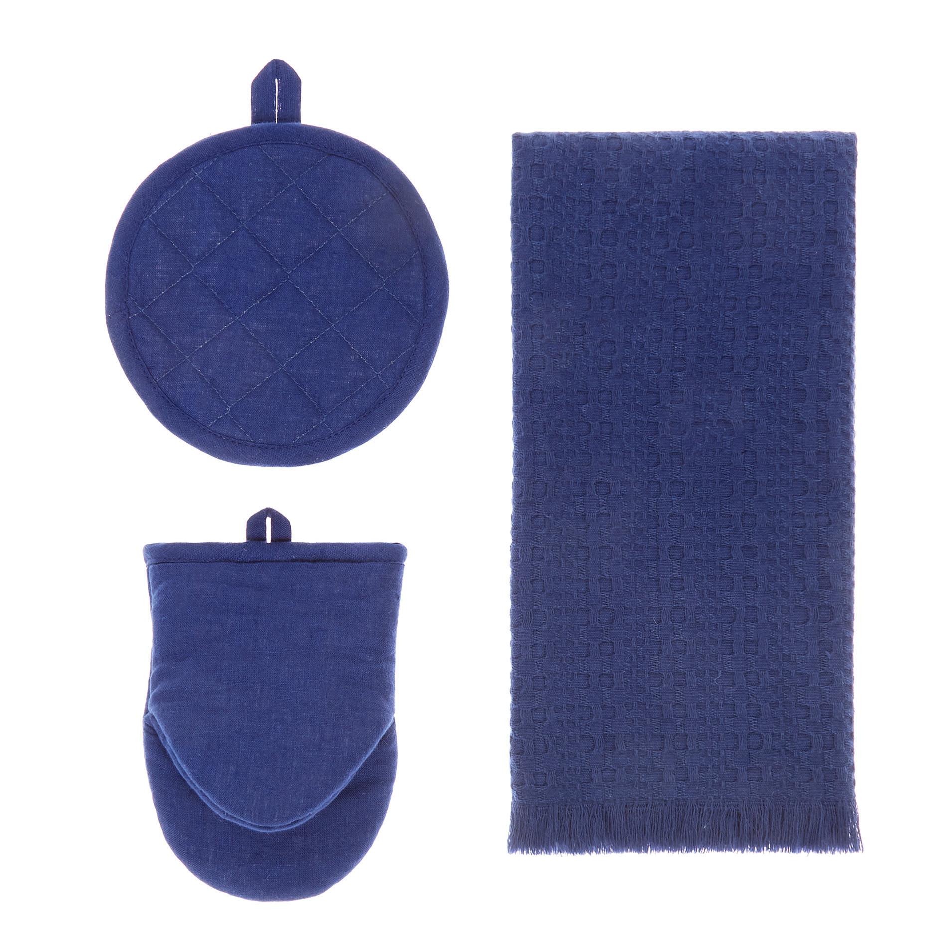 Set presina, guanto da cucina e strofinaccio tinta unita, Blu, large image number 0