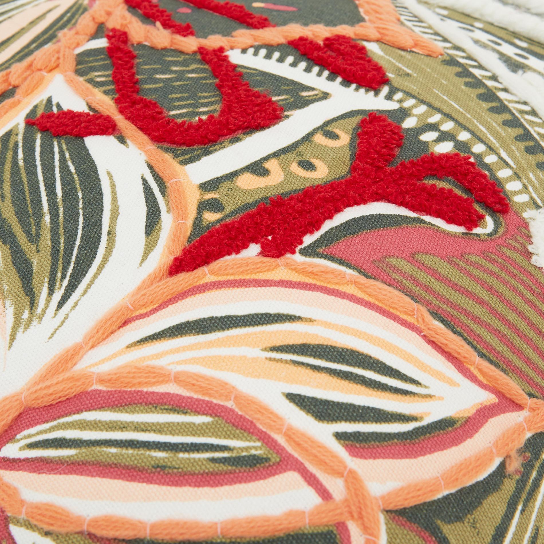 Cuscino ricamo foglie 45x45cm, Multicolor, large image number 3