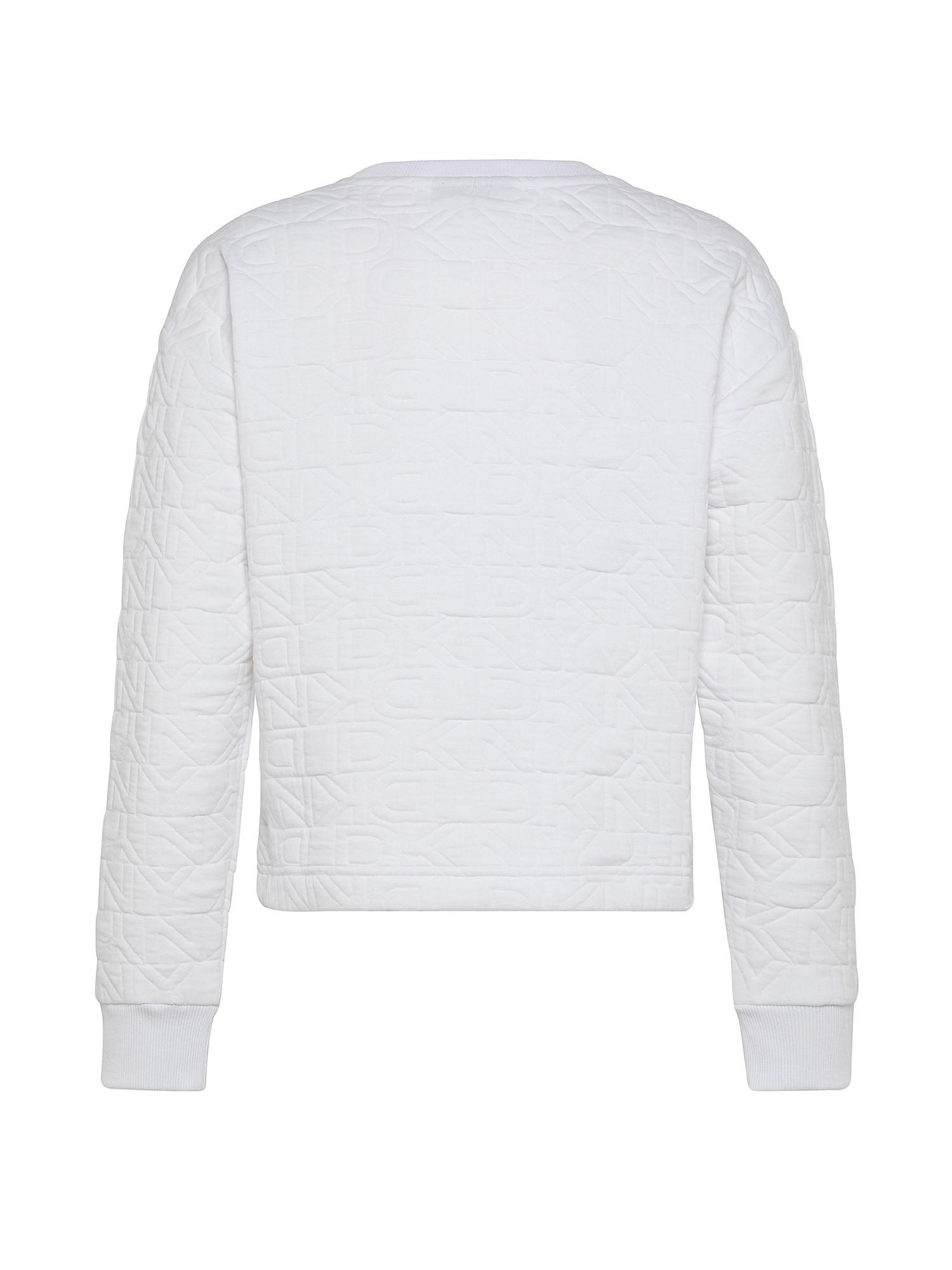 Felpa girocollo con logo ricamato, Bianco, large image number 1
