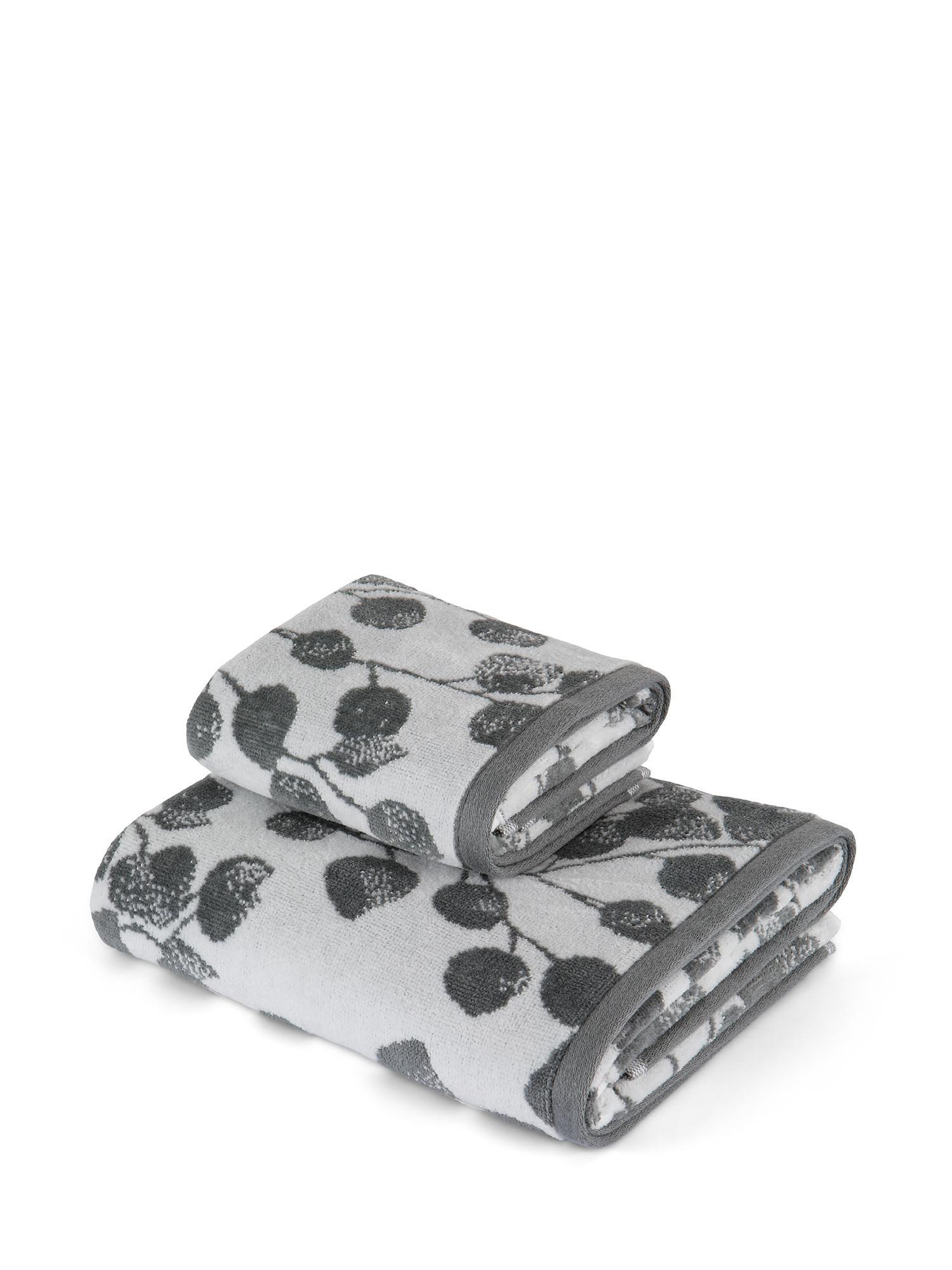 Asciugamano cotone velour motivo ramage, Grigio, large image number 0