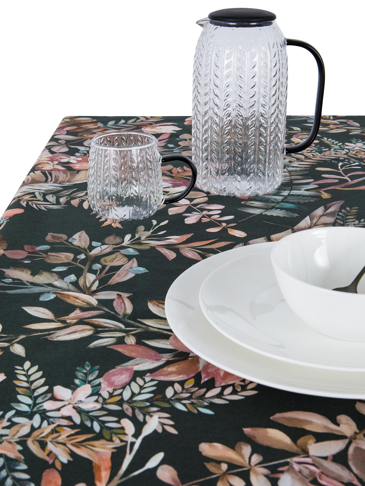 Tovaglia puro cotone stampa autunnale, Verde scuro, large image number 1