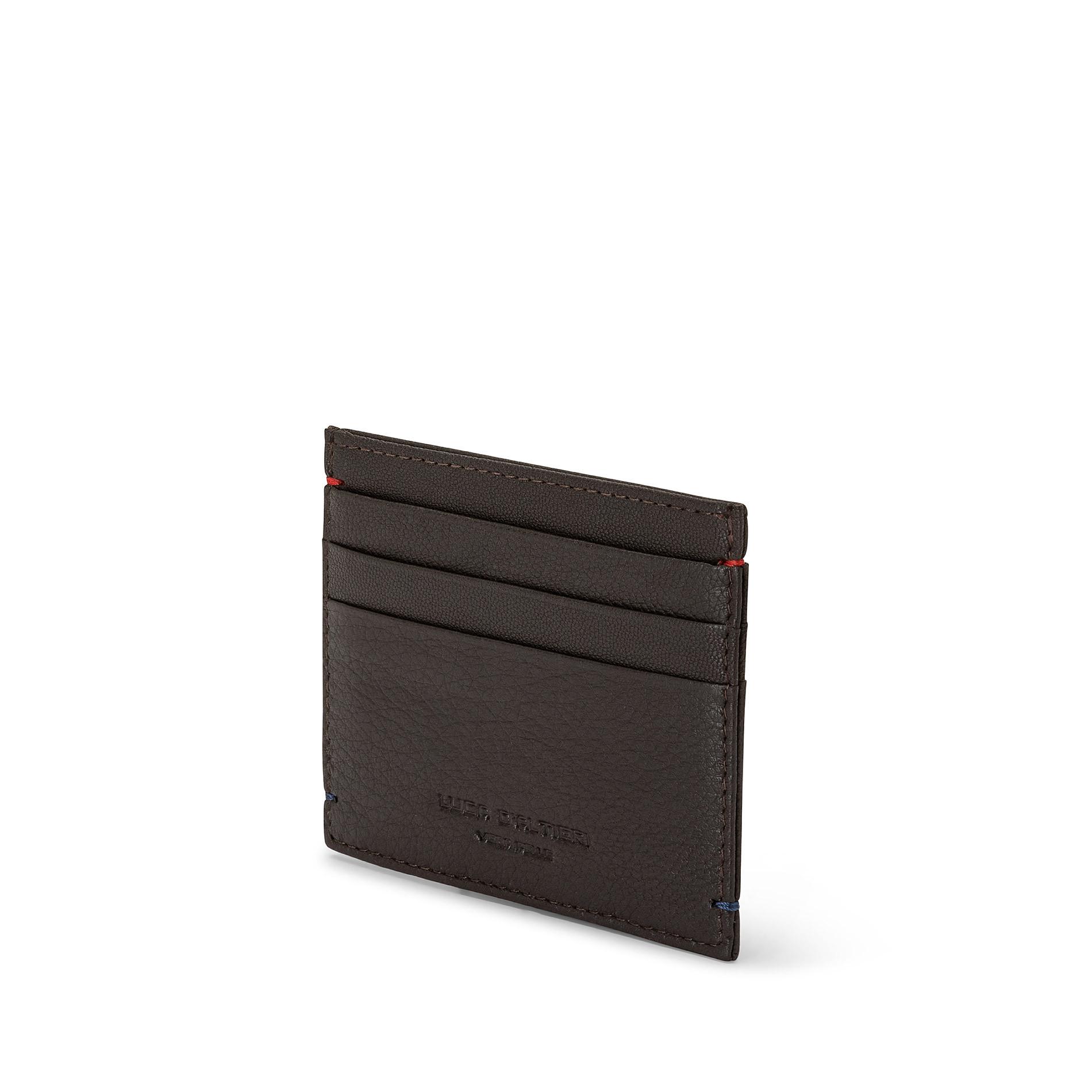 Porta carte di credito in pelle Luca D'Altieri, Marrone scuro, large image number 1