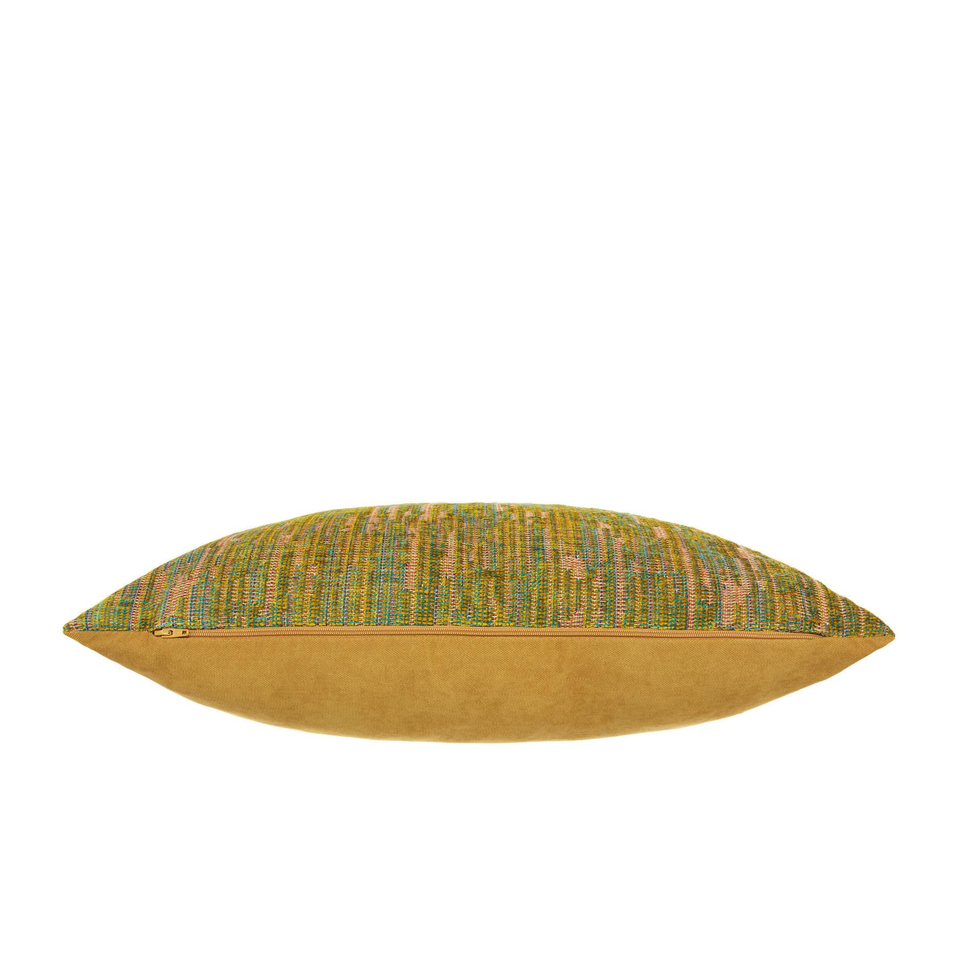 Cuscino jacquard motivo multicolore 50x50cm, Giallo senape, large image number 2