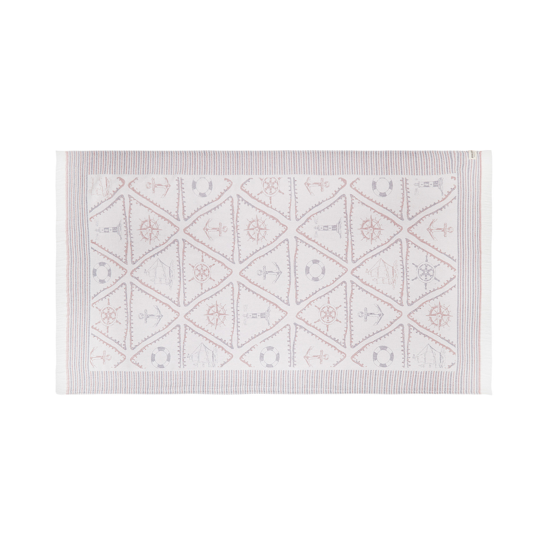 Telo mare cotone leggero motivo triangoli, Bianco, large image number 0