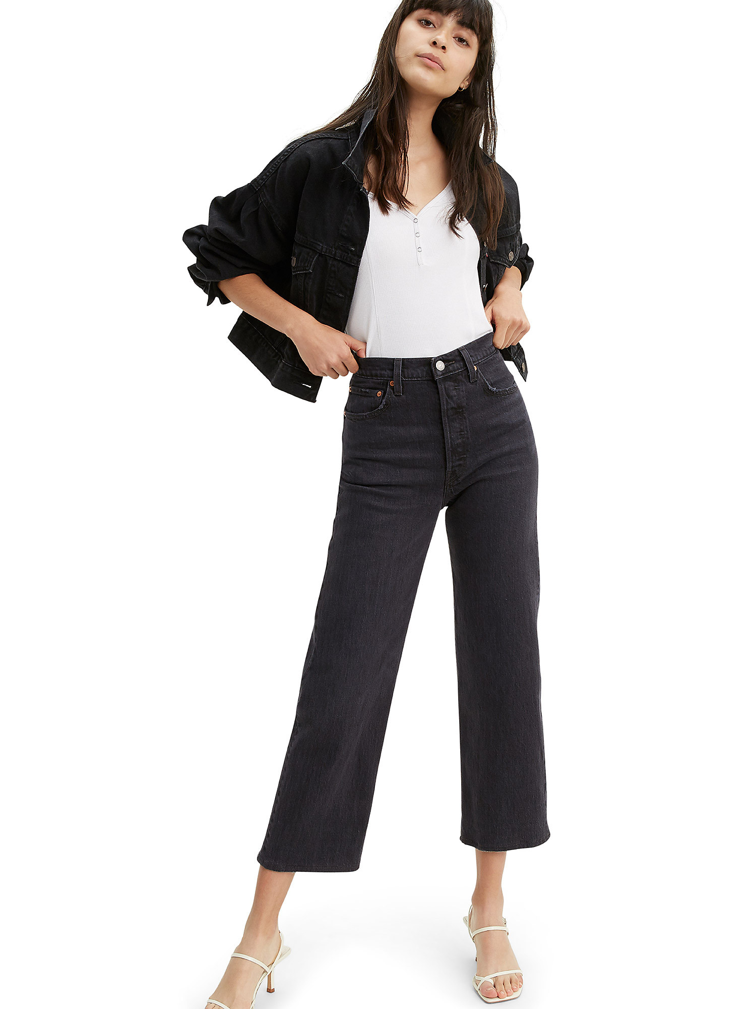 Jeans Ribcage Straight Ankle, Nero, large image number 2