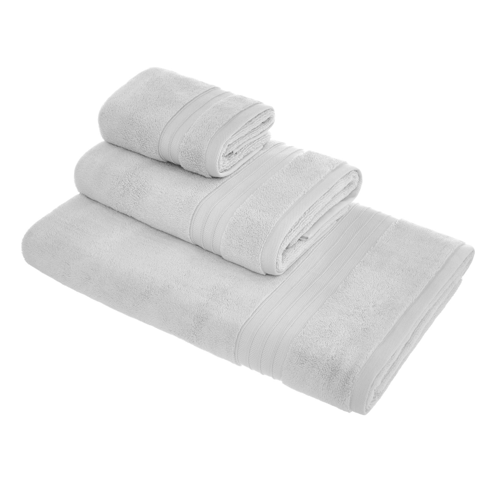 Asciugamano puro cotone tinta unita Thermae, Grigio perla, large image number 0