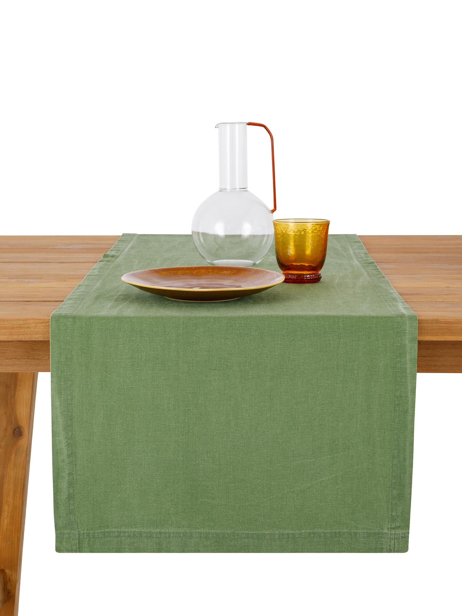 Runner puro cotone garment washed, Verde, large image number 0