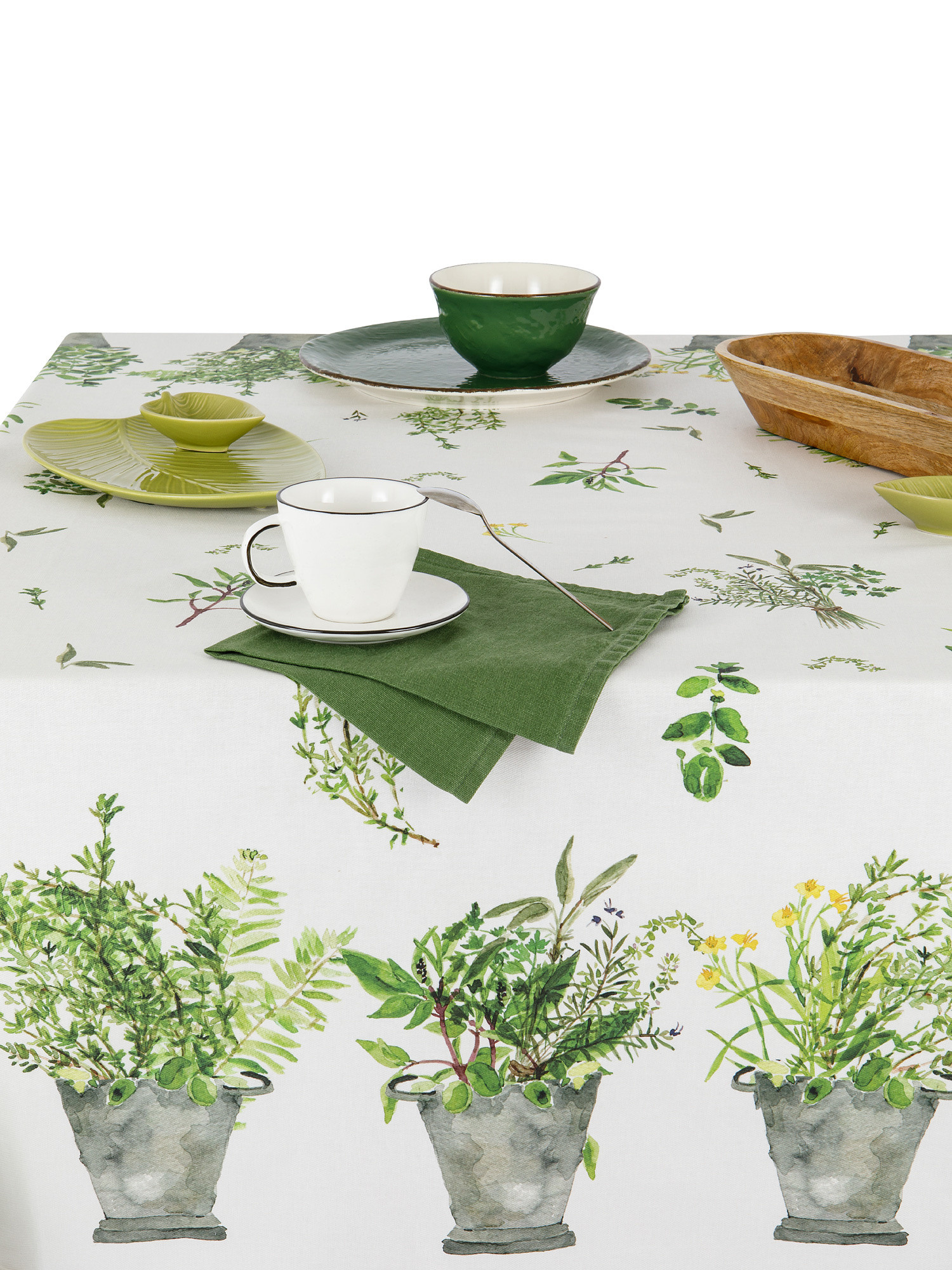 Tovaglia cotone idrorepellente stampa garden, Verde, large image number 1