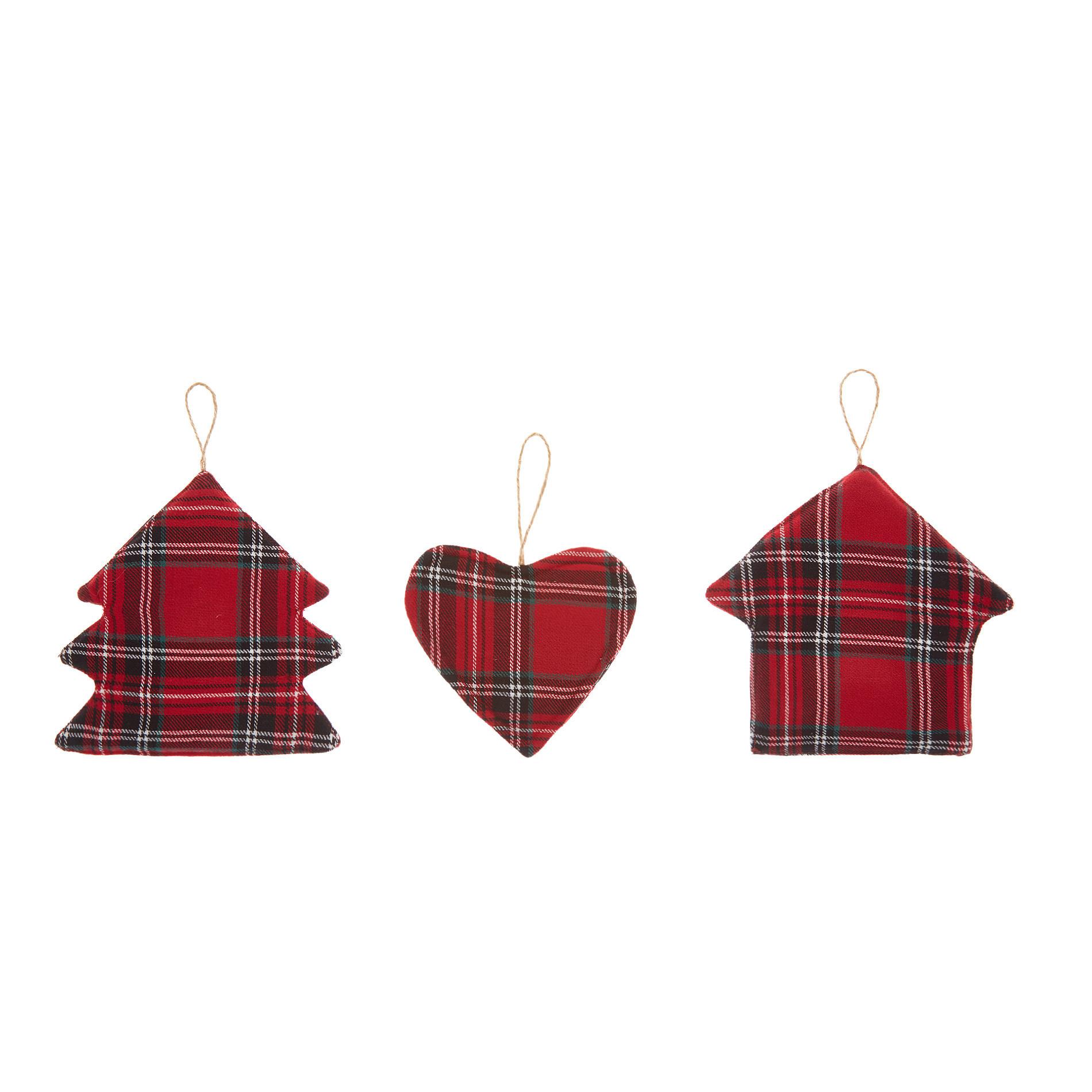Set 3 decorazioni twill di cotone motivo tartan, Verde/Rosso, large image number 0