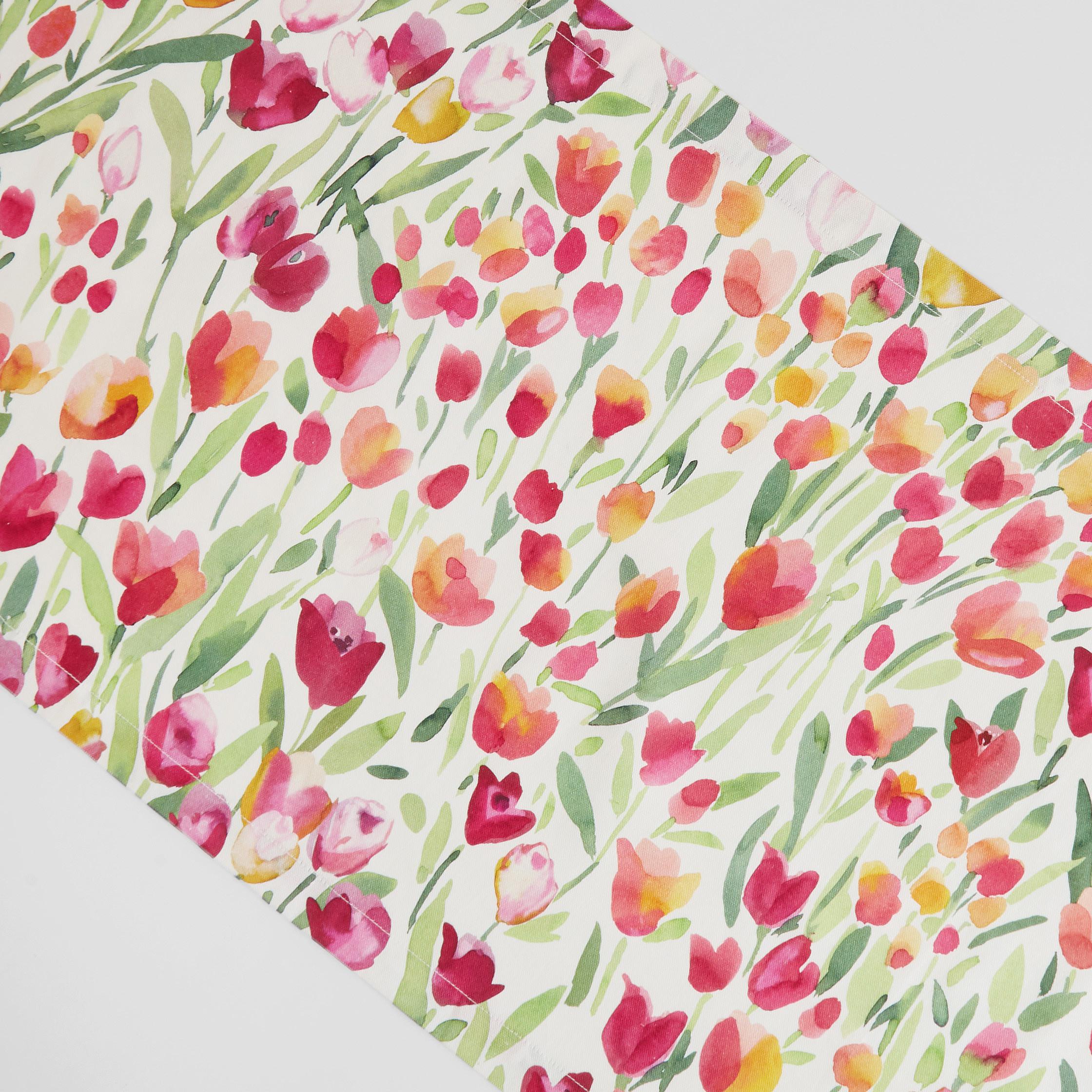 Runner puro cotone stampa tulipani, Bianco, large image number 1