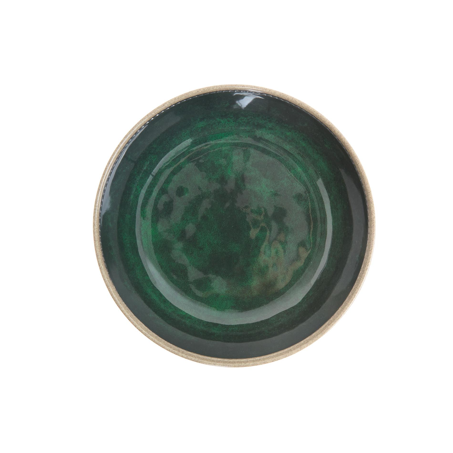 Piatto fondo melamina tinta unita, Verde scuro, large image number 0