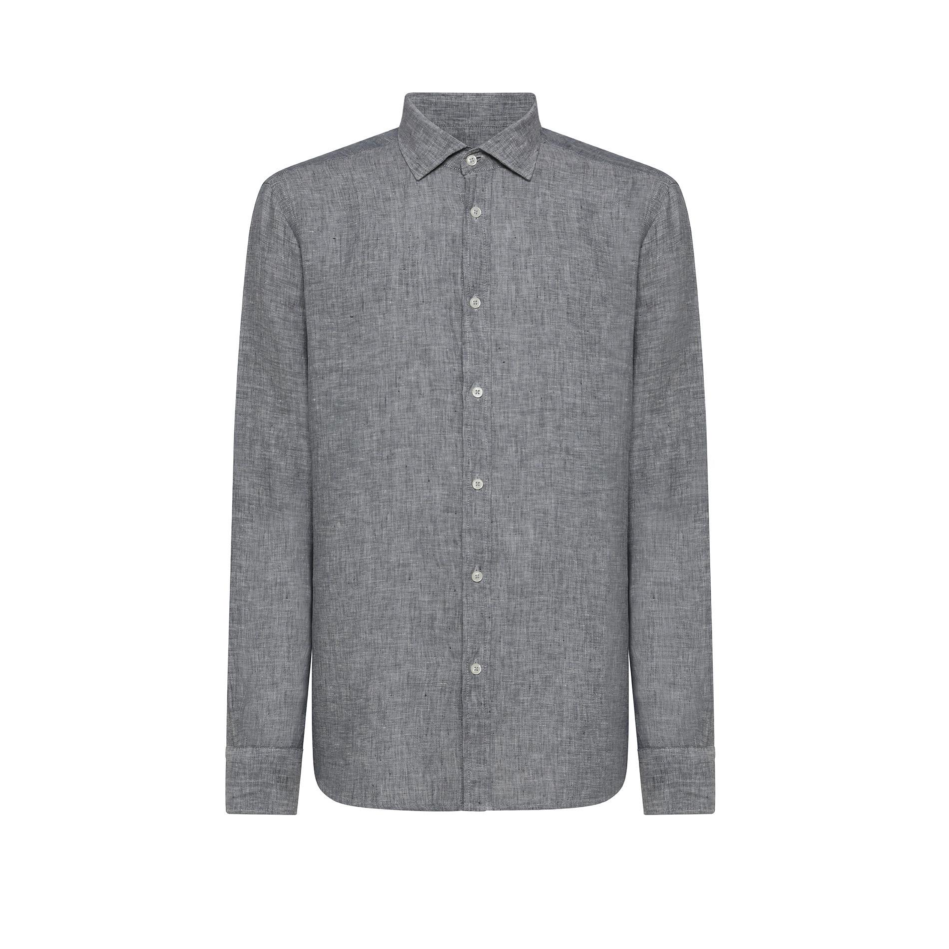 Camicia puro lino tailor fit Luca D'Altieri, Grigio, large image number 0