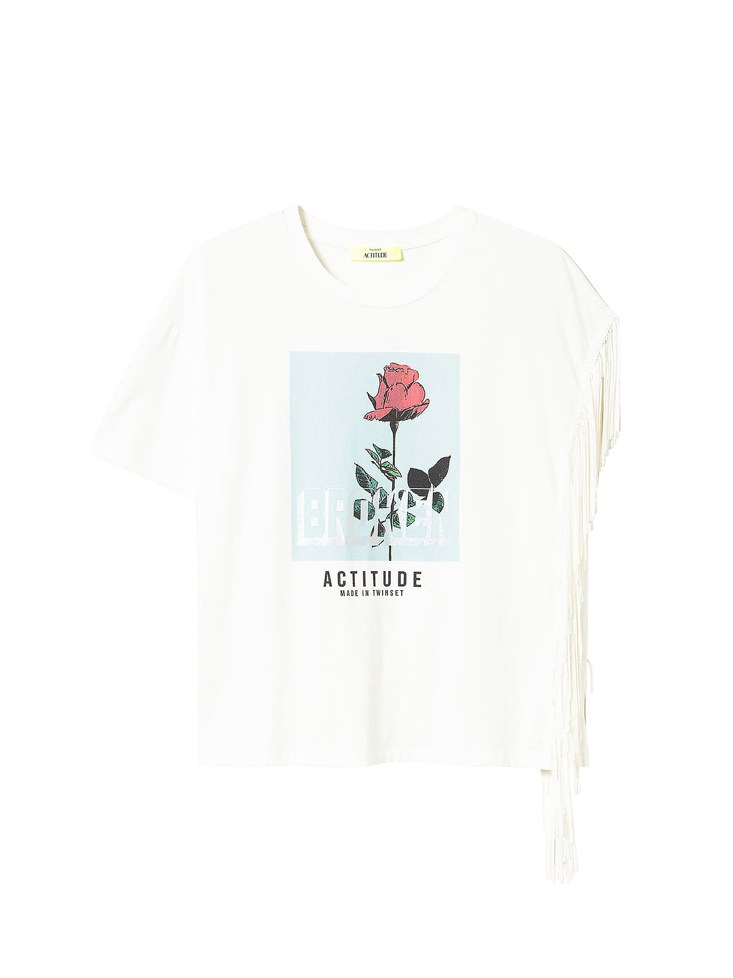 T-Shirt in jersey con frange, Bianco, large image number 0