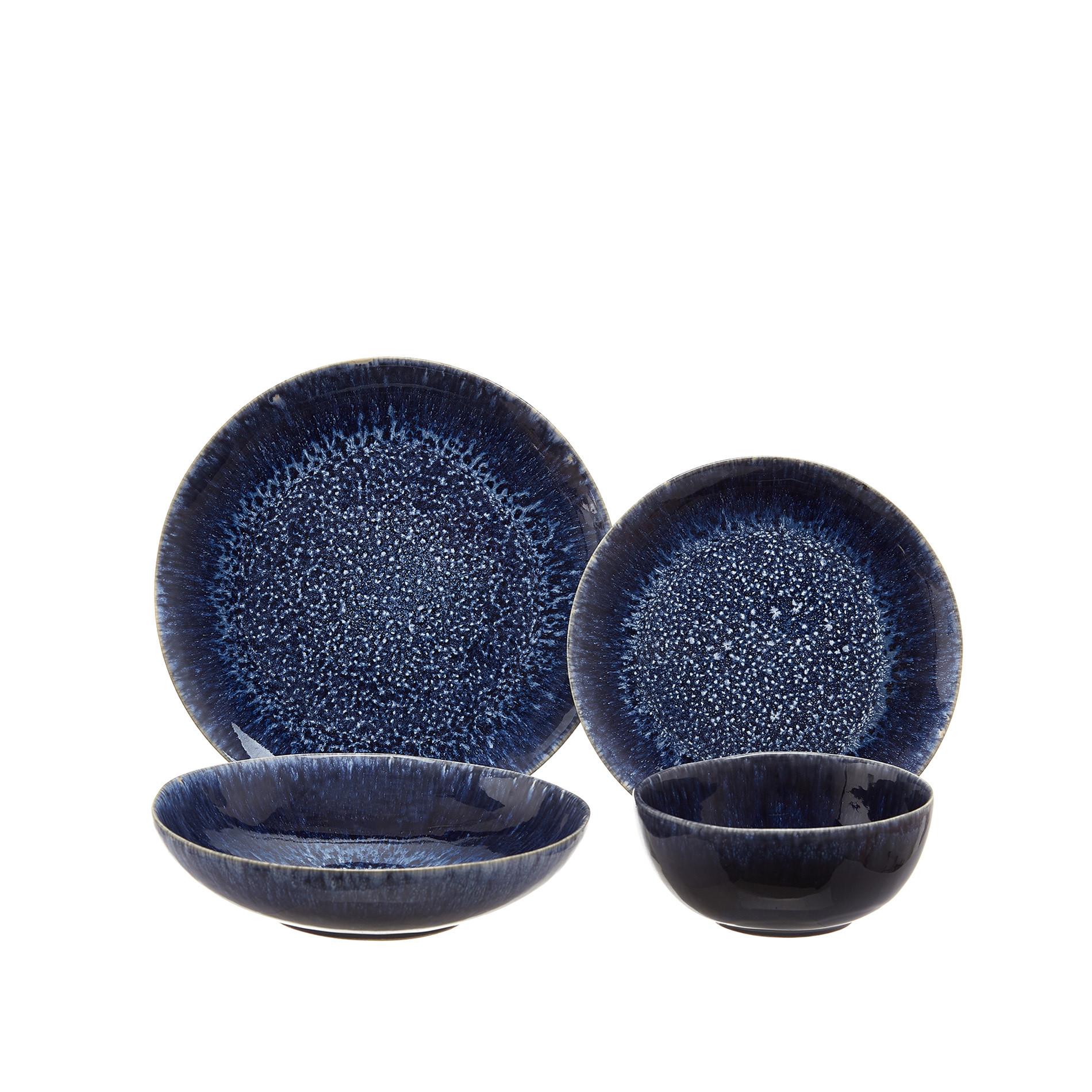 Piatto frutta ceramica smalto reattivo, Blu, large image number 1
