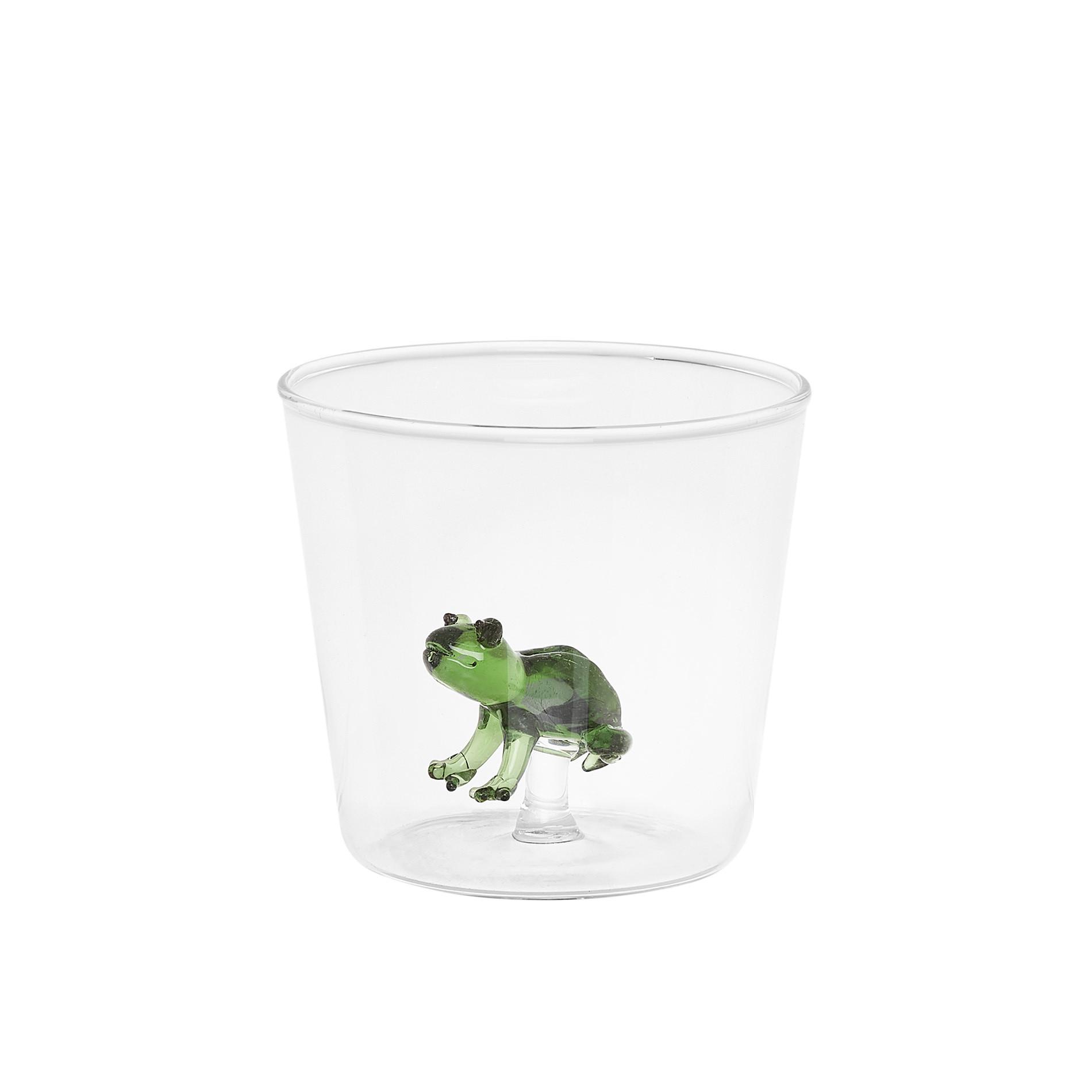 Bicchiere vetro dettaglio rana, Trasparente, large image number 0