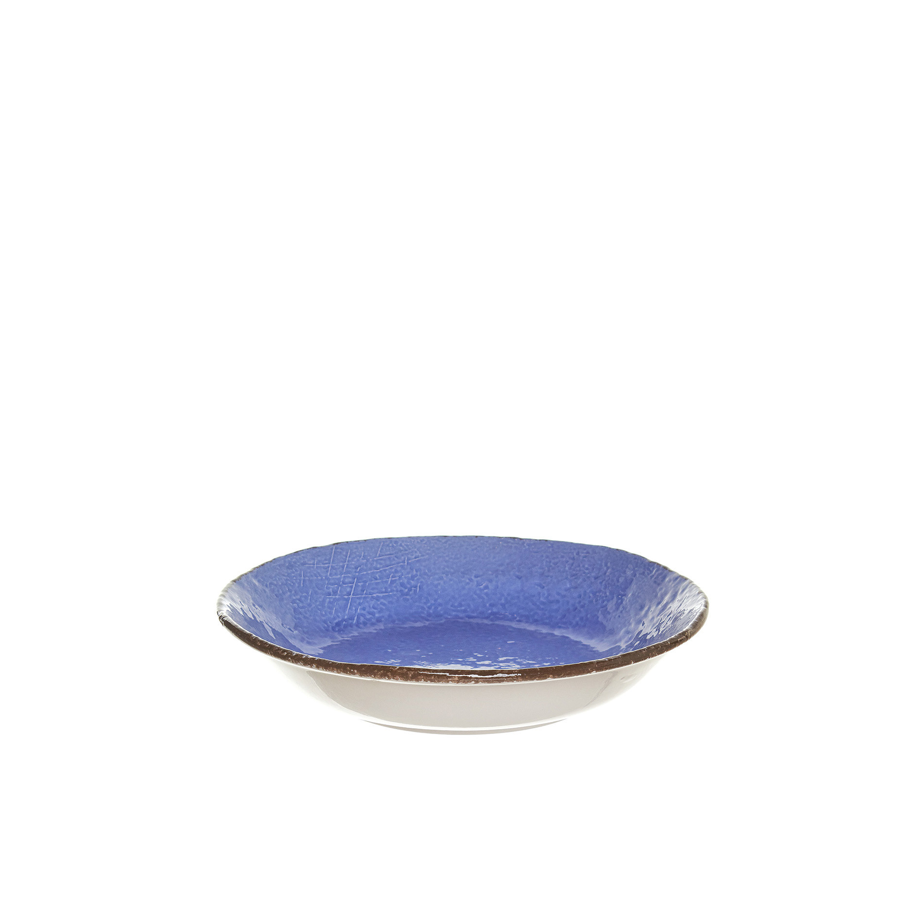 Piatto fondo ceramica artigianale Preta, Azzurro, large image number 0