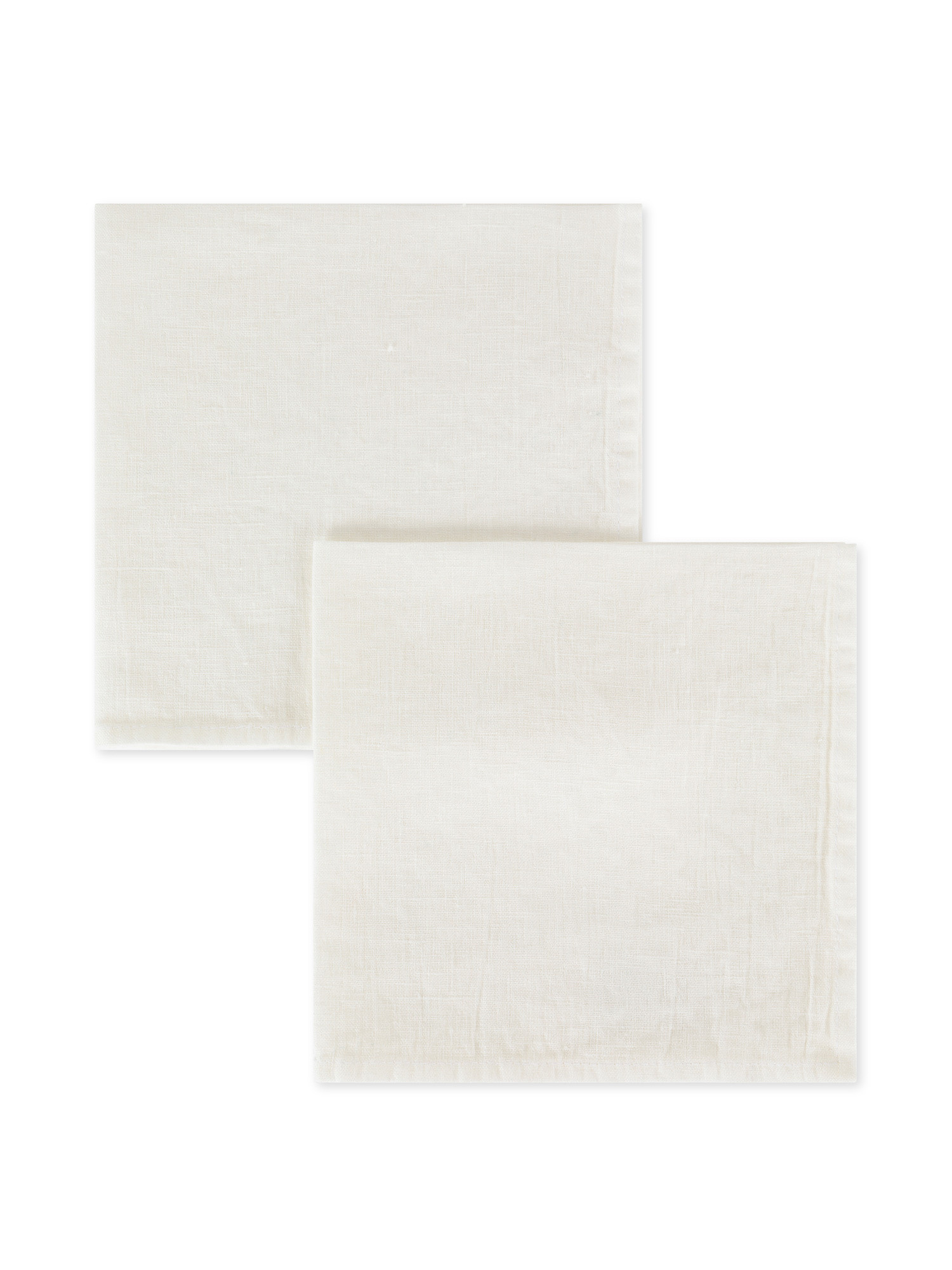 Set 2 tovaglioli lino lavato tinta unita, Bianco, large image number 0