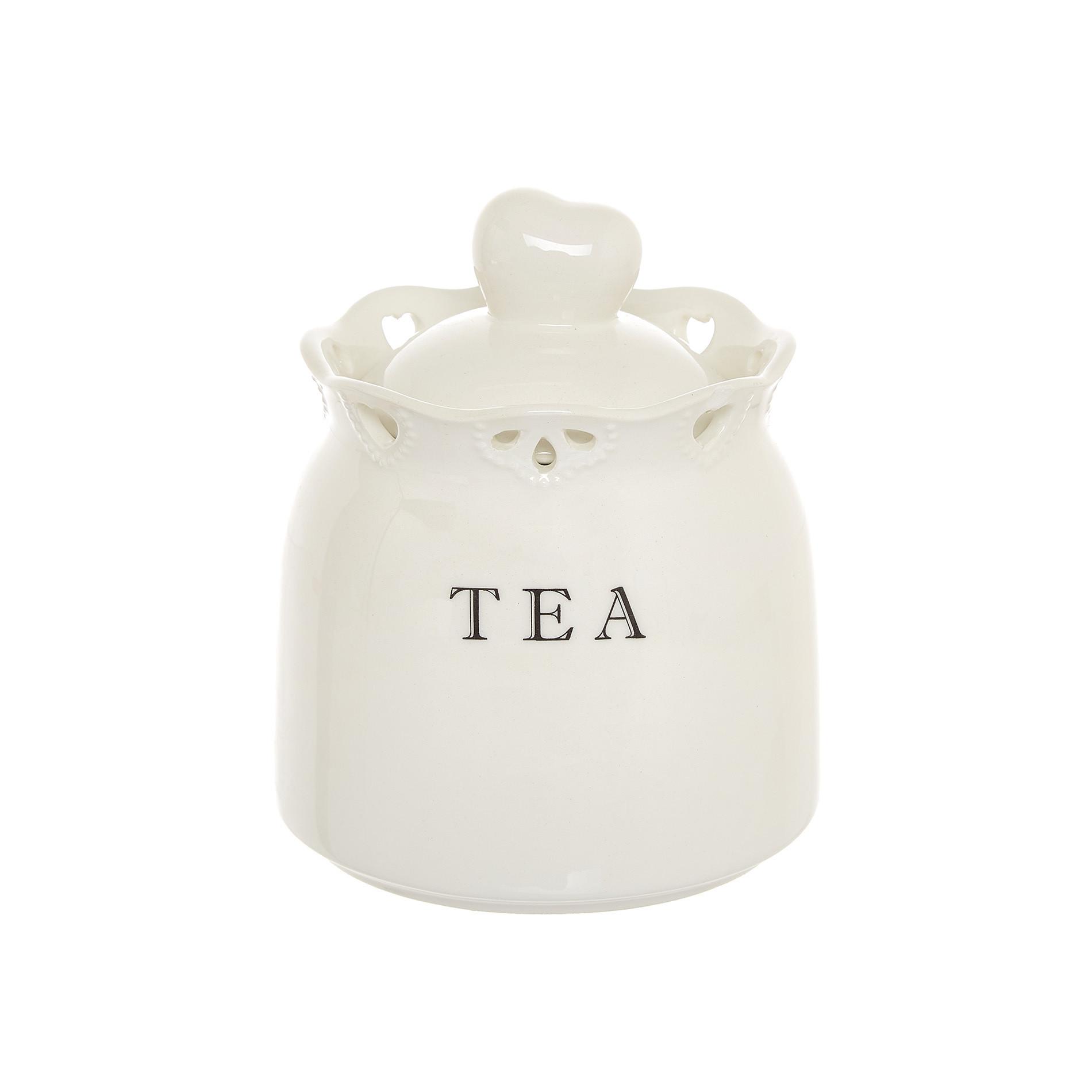 Barattolo tea ceramica traforata, Bianco, large image number 0