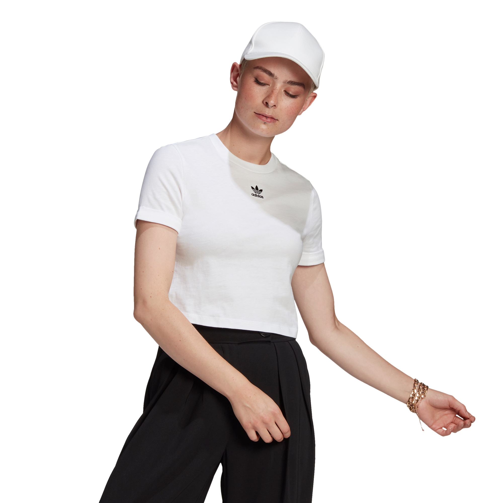 T-shirt adicolor Classics Roll-Up Sleeve Crop, Bianco, large image number 1