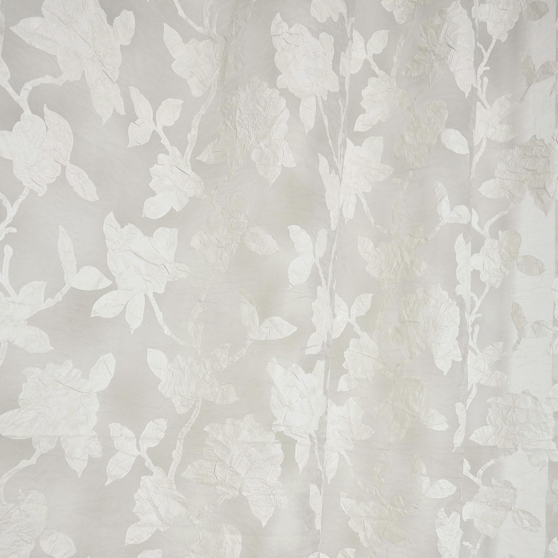 Tenda stampa rose devore, Bianco, large image number 0