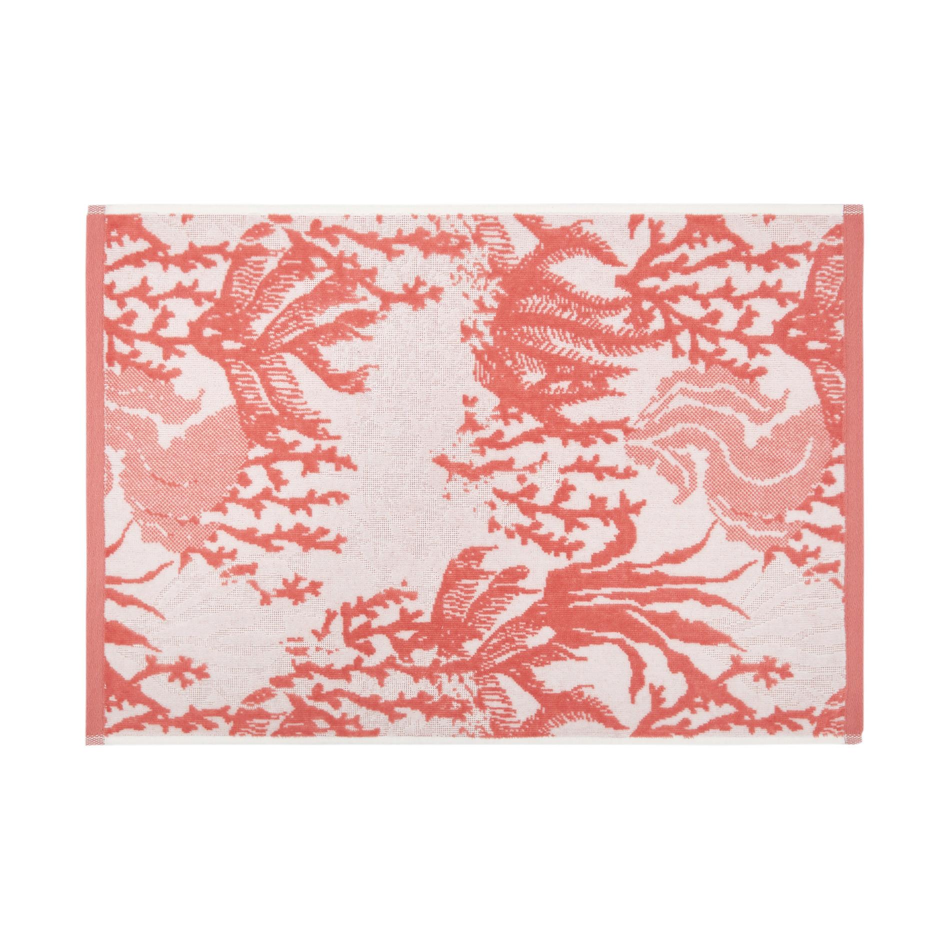 Asciugamano cotone velour motivo coralli, Rosso corallo, large image number 1