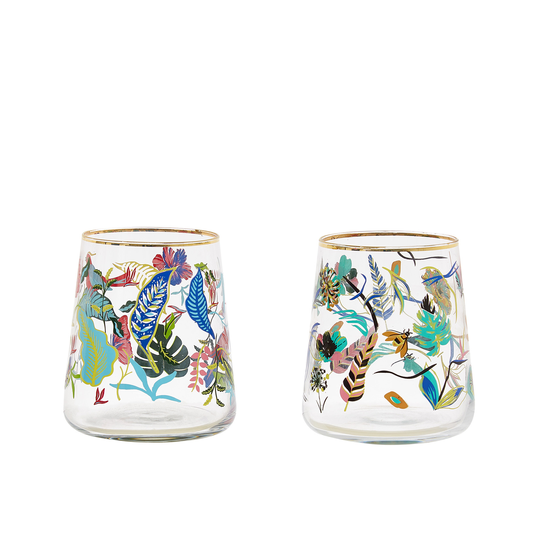 Bicchiere vetro motivo amazzonia, Trasparente, large image number 0