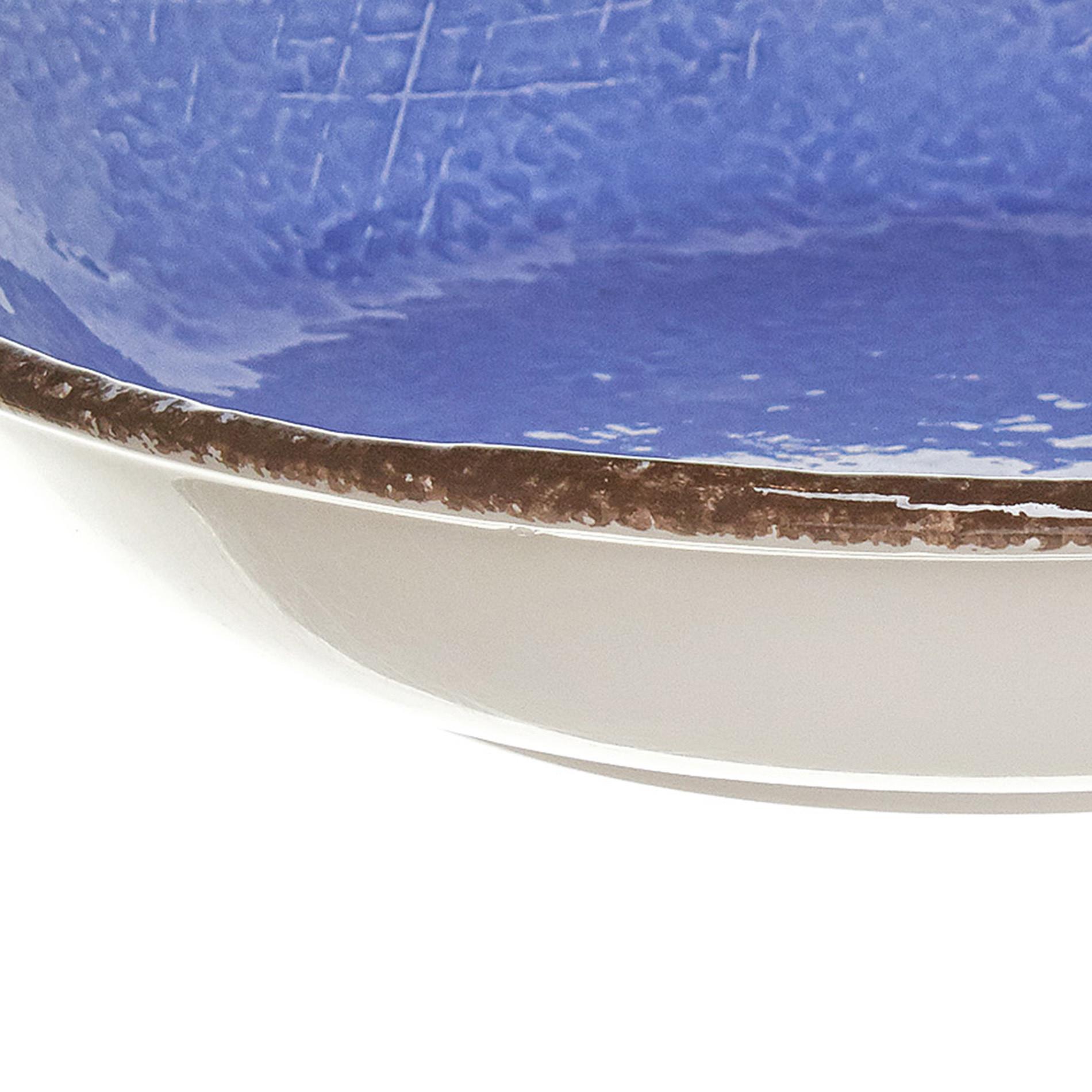 Piatto fondo ceramica artigianale Preta, Azzurro, large image number 2